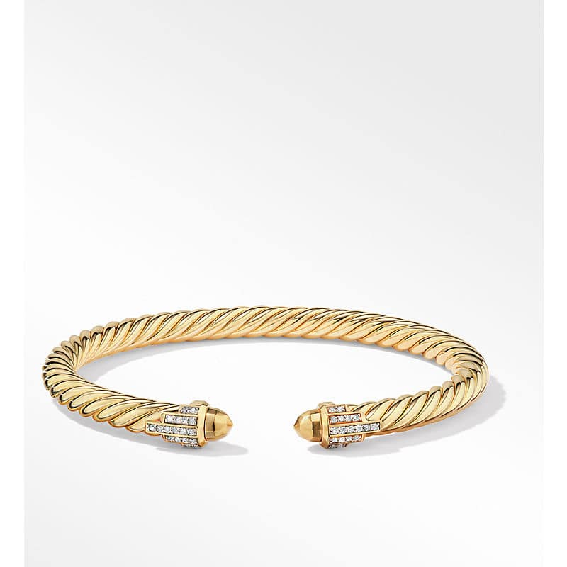 Empire Cable Bracelet in 18K Yellow Gold with Diamonds, 5mm