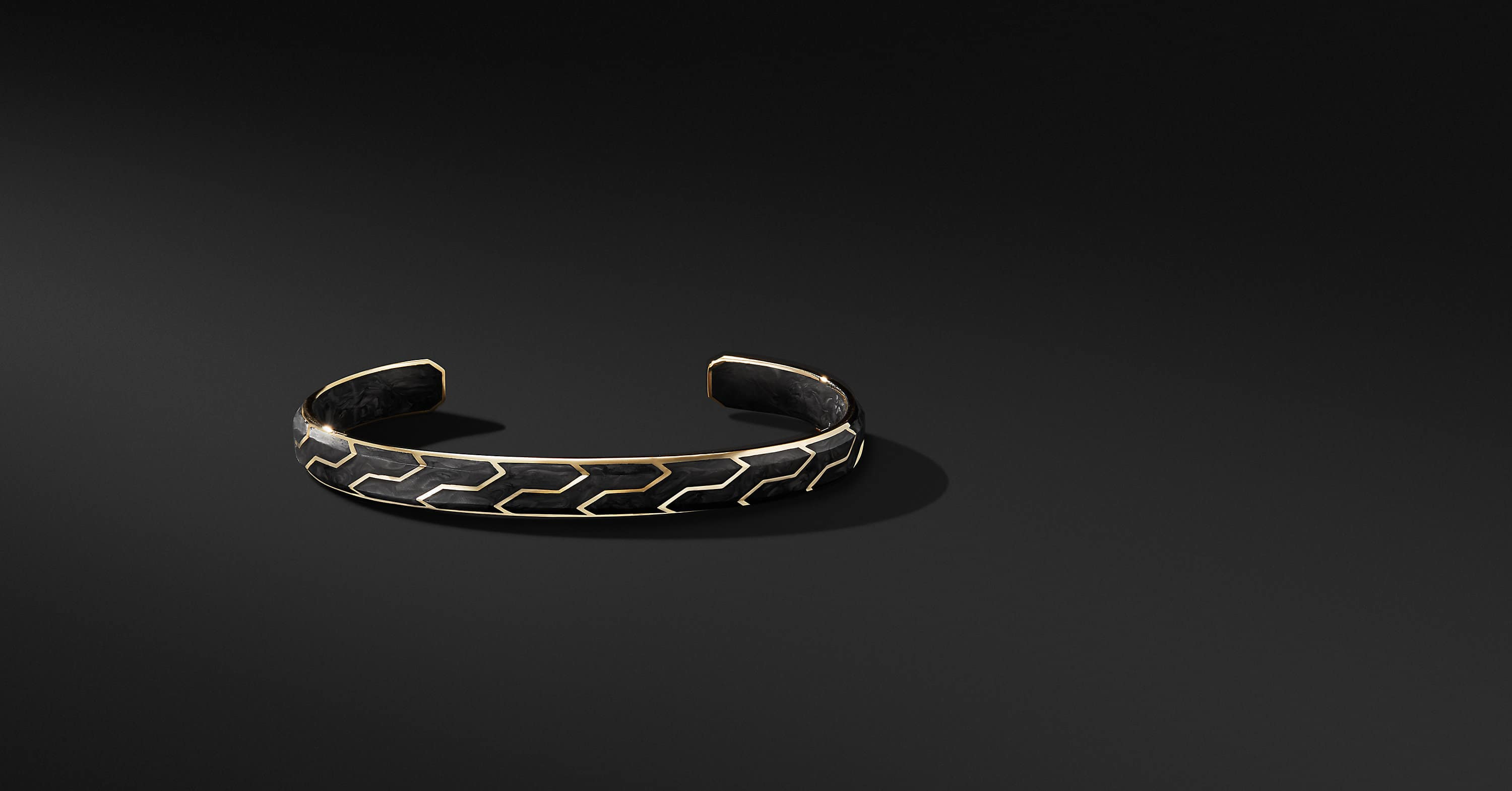 Forged Carbon Cuff with 18K Gold, 8.5mm