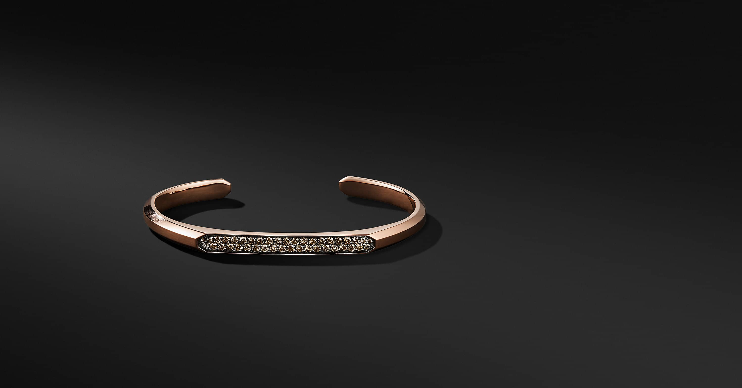 Streamline Cuff Bracelet in 18K Rose Gold with Cognac Diamonds, 5.5mm