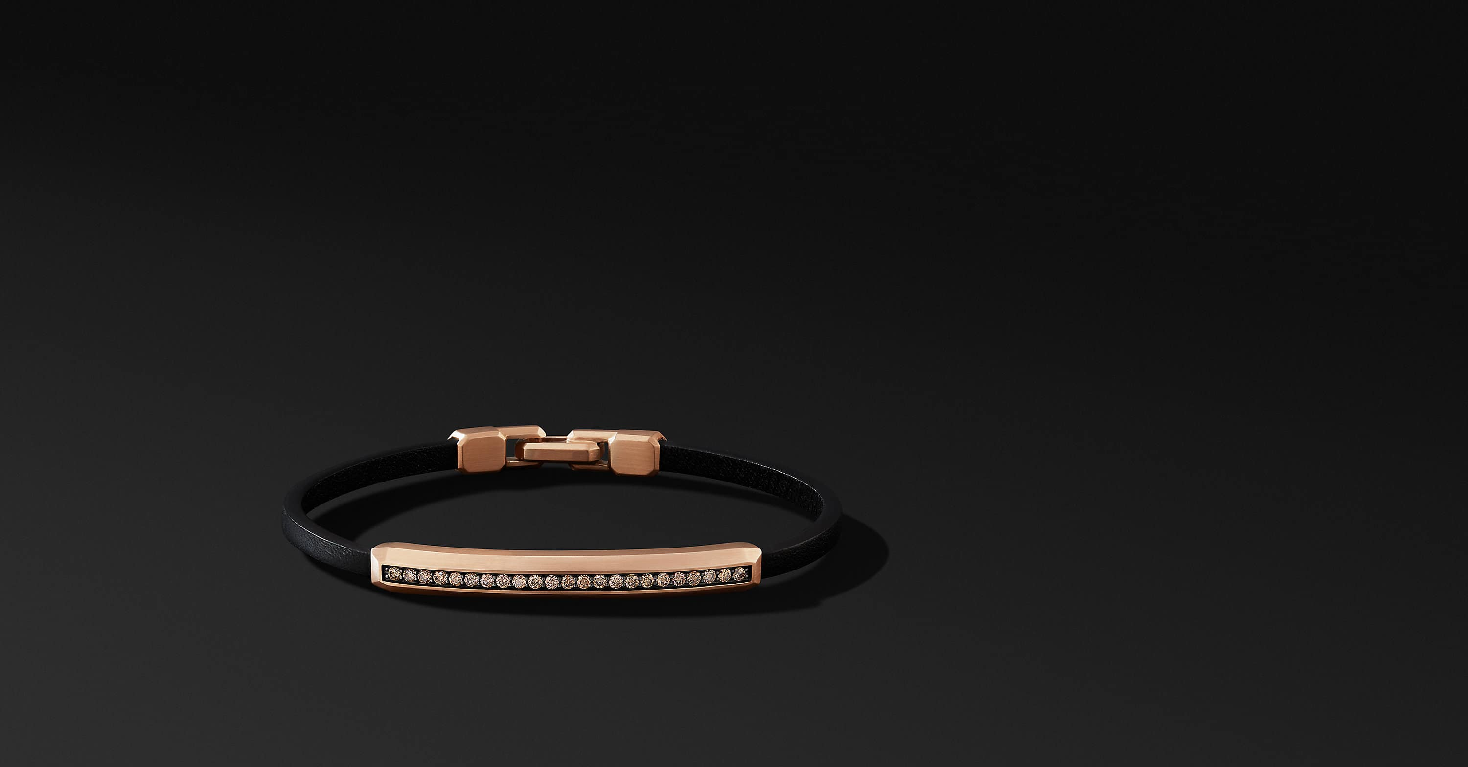 Streamline Leather Bar ID Bracelet with 18K Rose Gold