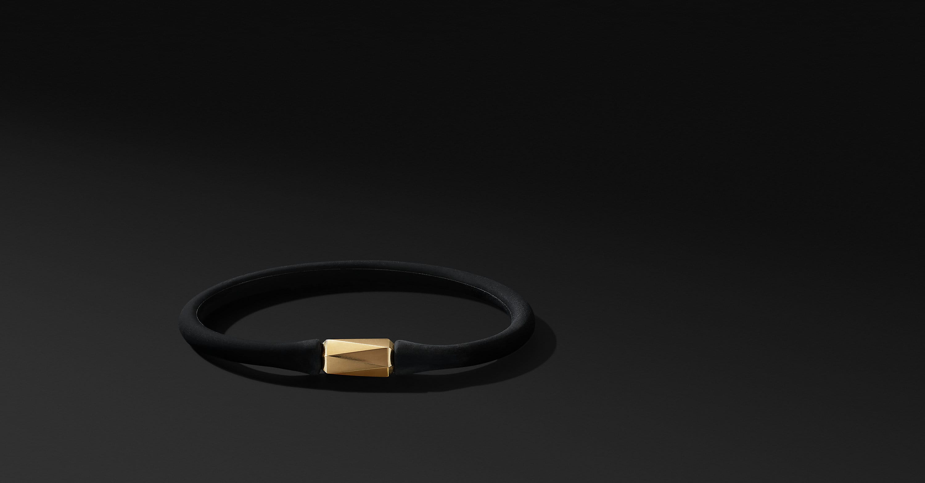 DY Fortune Barrel Rubber Bracelet with 18K Yellow Gold