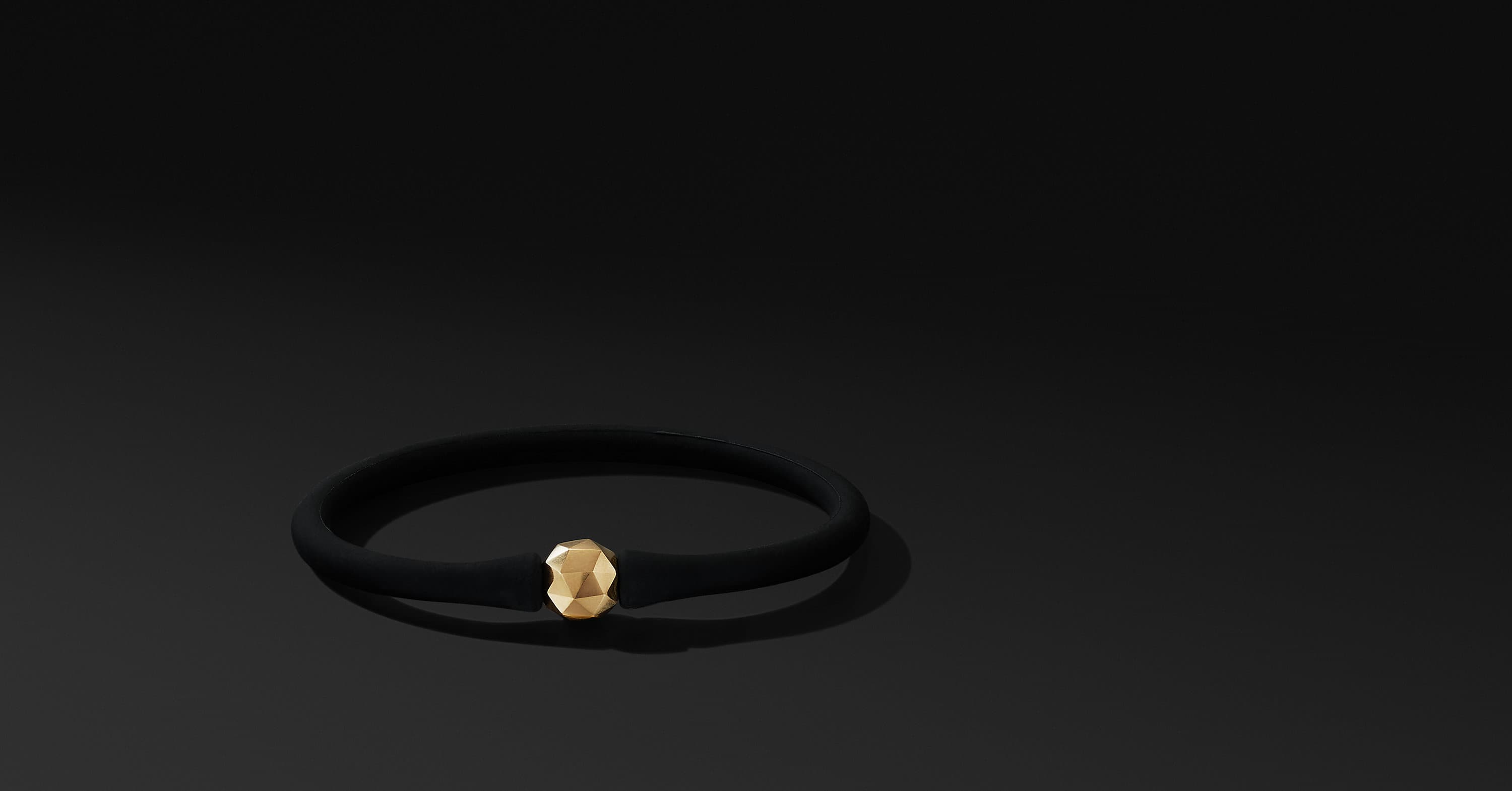 DY Fortune Round Faceted Rubber Bracelet with 18K Yellow Gold