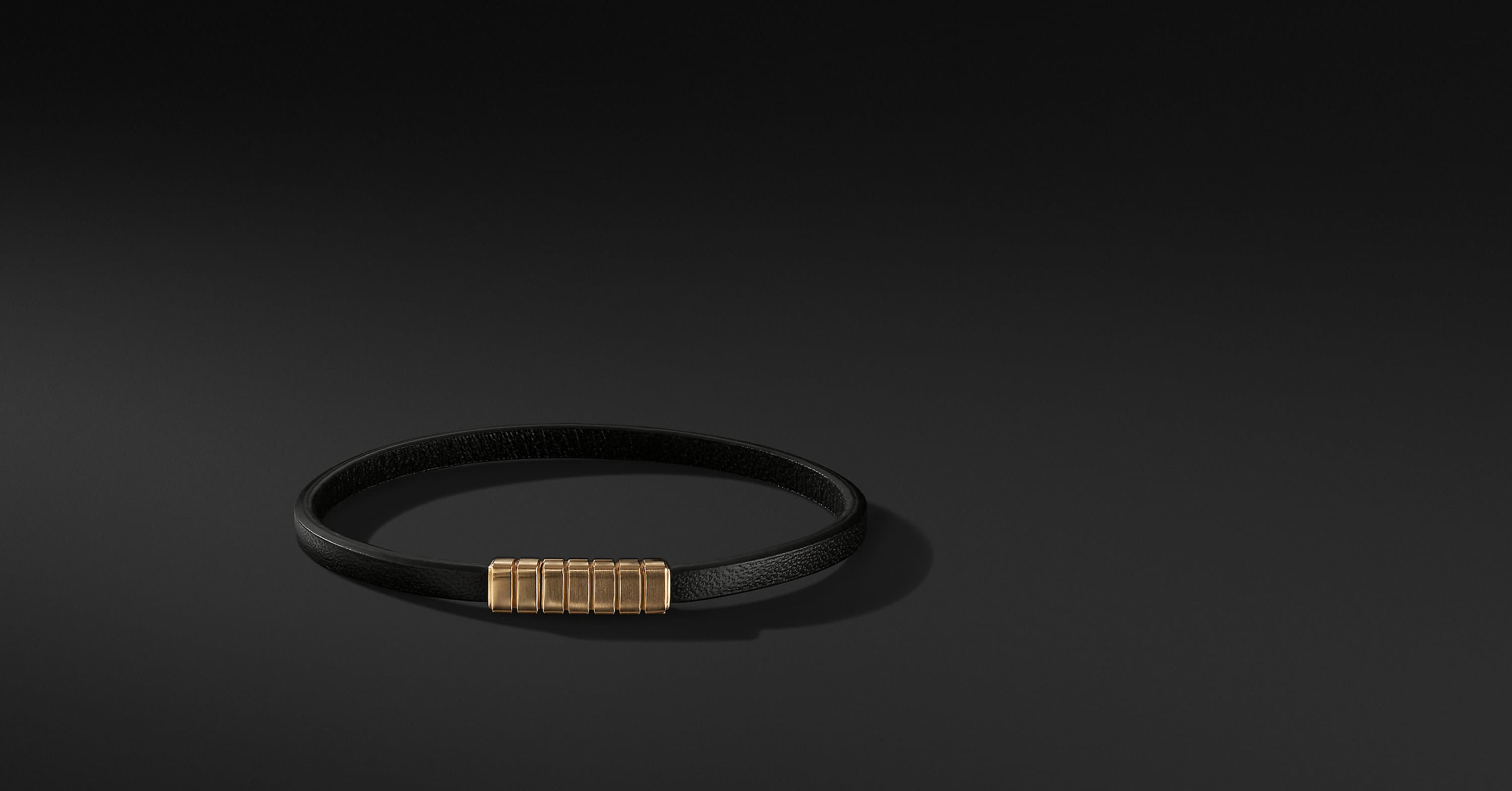 Southwest Narrow Leather Bracelet with 18K Gold