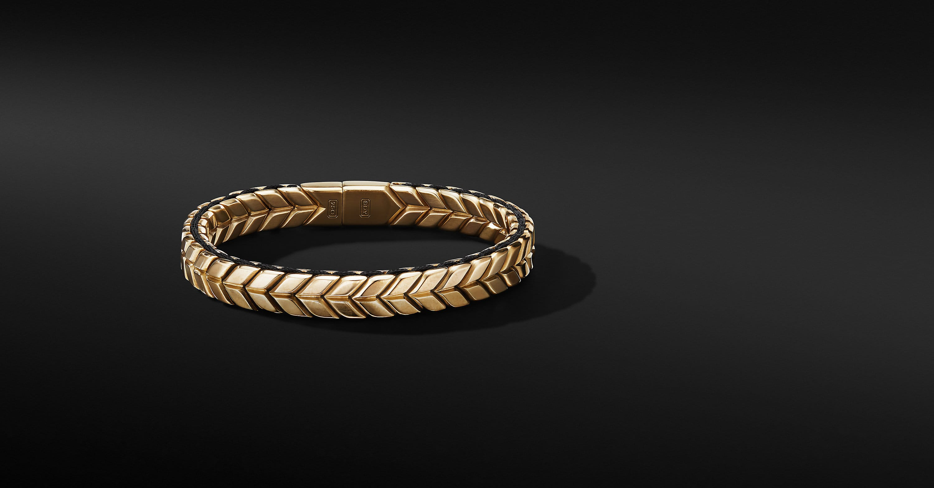 Chevron Woven Bracelet in 18K Yellow Gold, 9mm