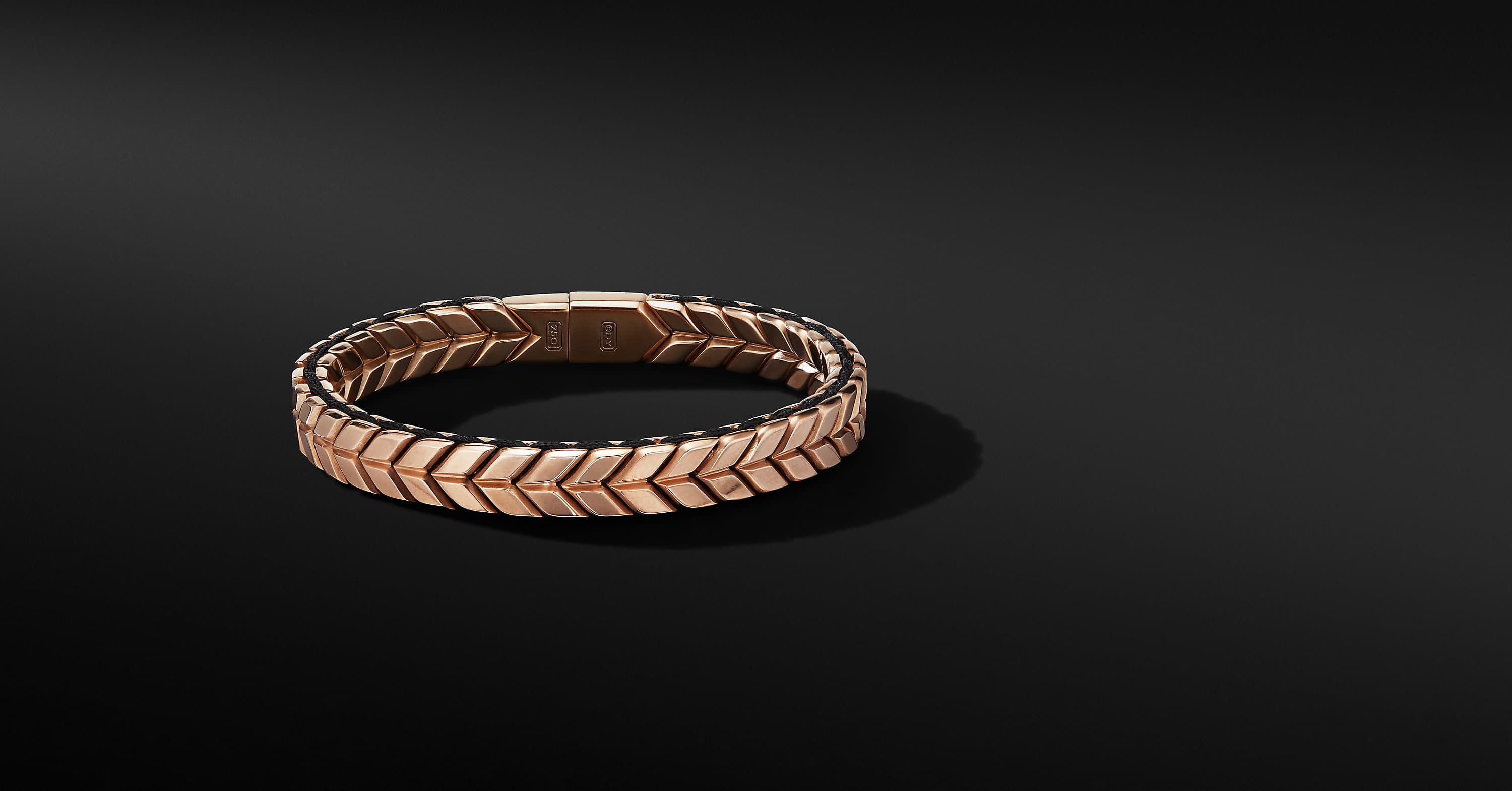 Chevron Narrow Woven Bracelet in 18K Rose Gold