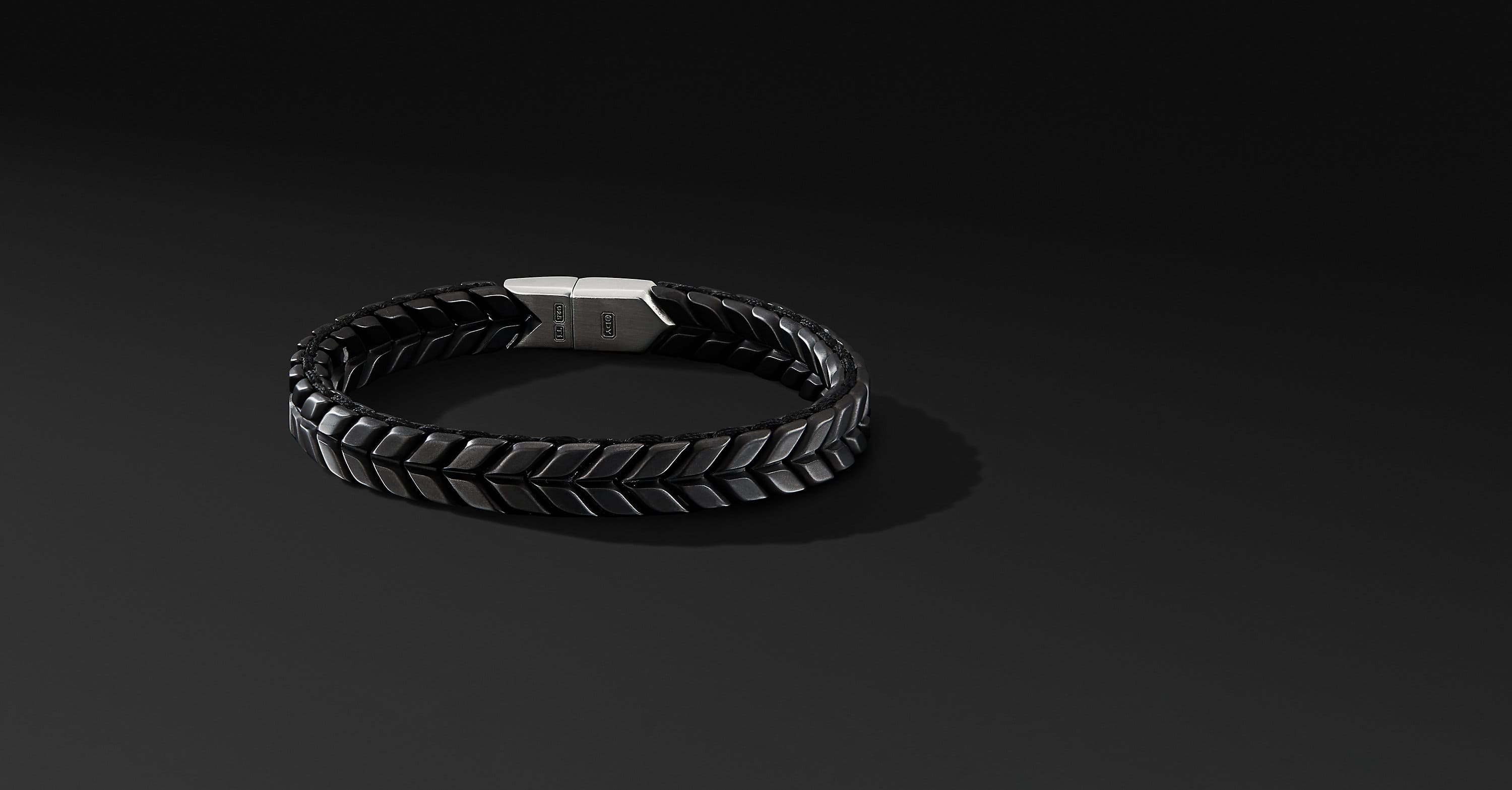 Chevron Woven Bracelet in Black Titanium, 9mm