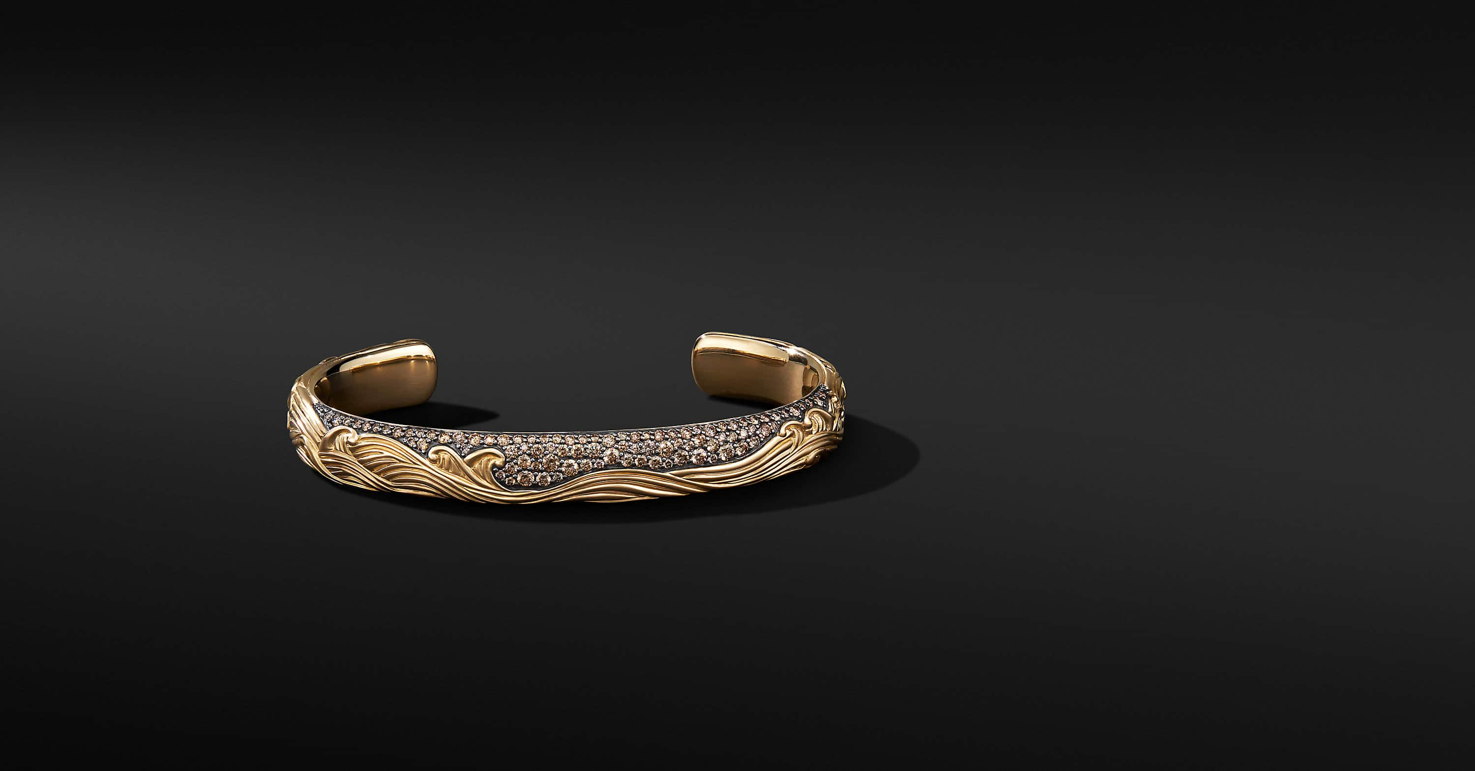 Waves Cuff Bracelet in 18K Yellow Gold, 9mm