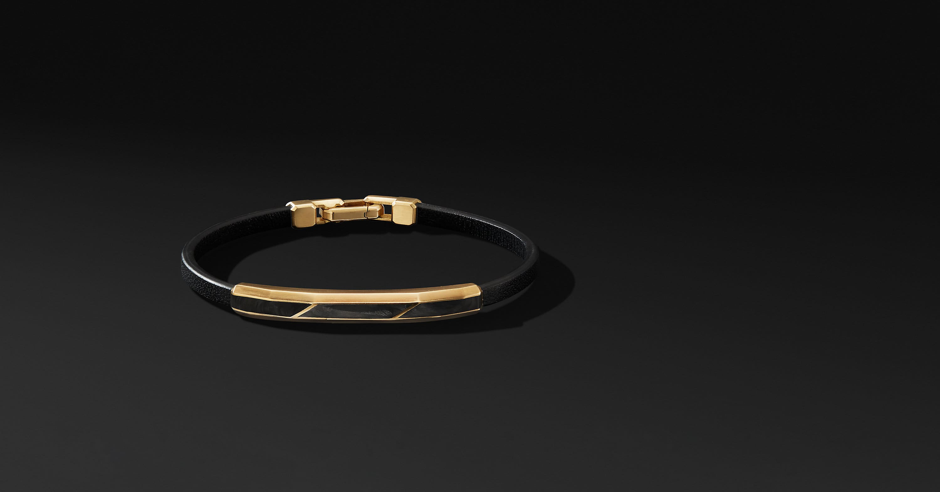 Faceted ID Leather Bracelet with 18K Yellow Gold, 9mm
