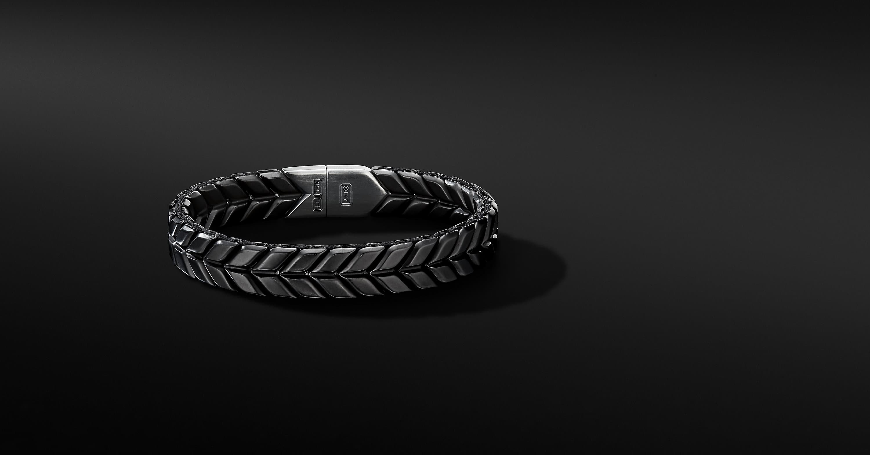 Chevron Wide Woven Bracelet in Black Titanium