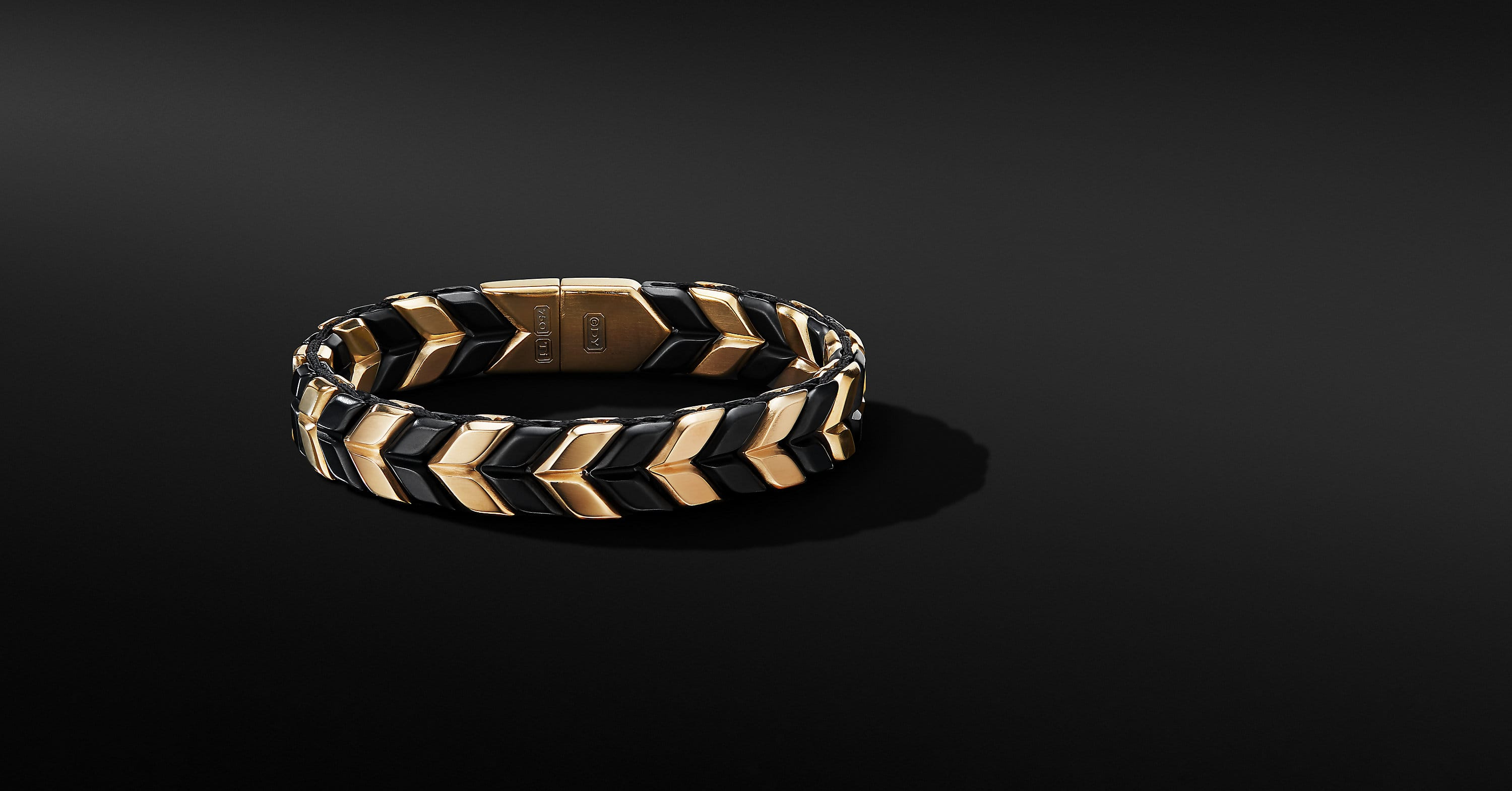 Chevron Woven Bracelet in Black Titanium with 18K Yellow Gold, 12mm