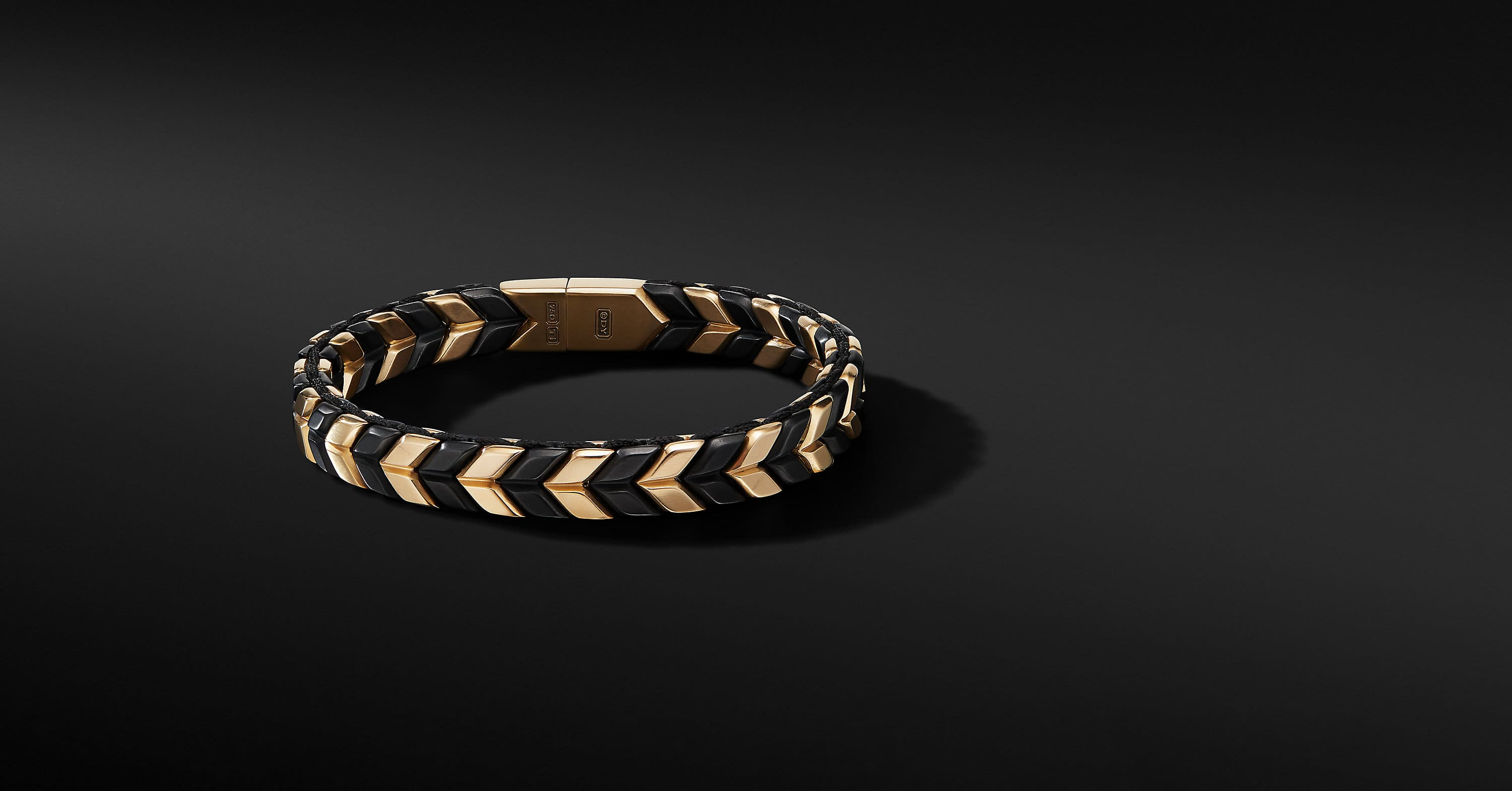 Chevron Woven Bracelet in 18K Yellow Gold with Black Titanium, 9mm