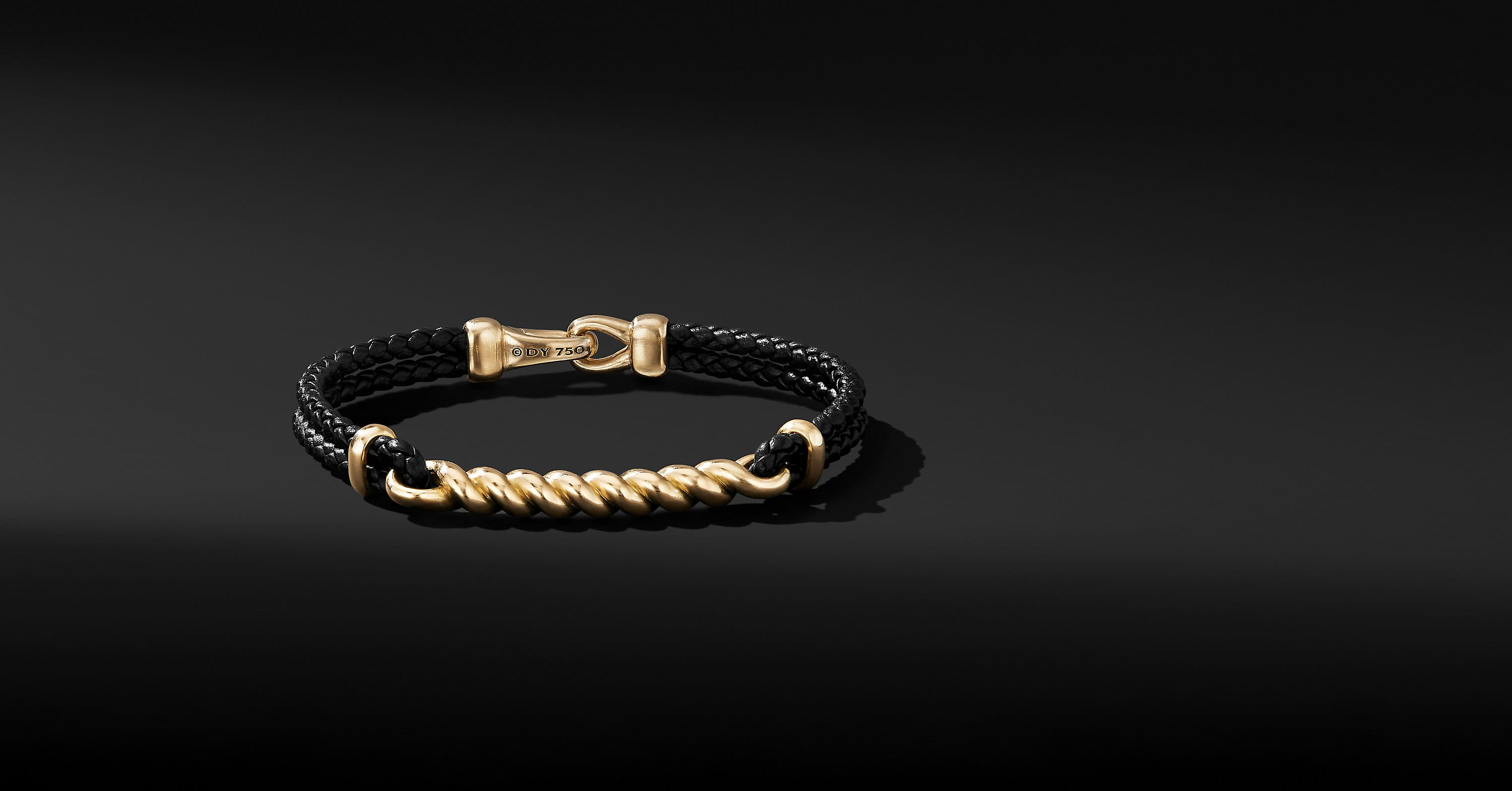 Cable ID Leather Bracelet with 18K Yellow Gold