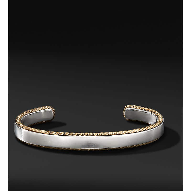 Streamline Cable Cuff Bracelet with 18K Yellow Gold, 9mm