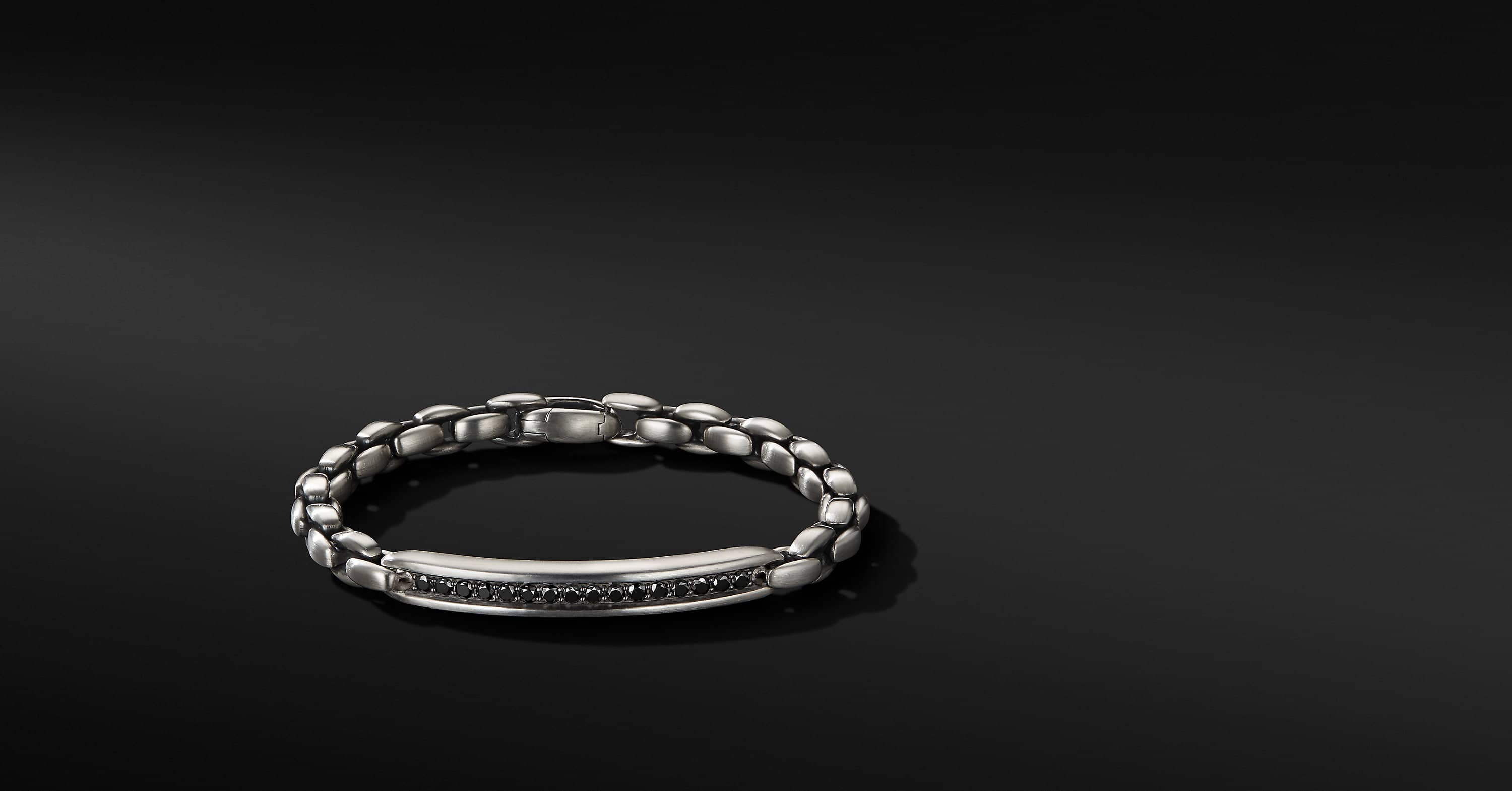 Chain ID Bracelet with Black Diamonds, 6.5mm