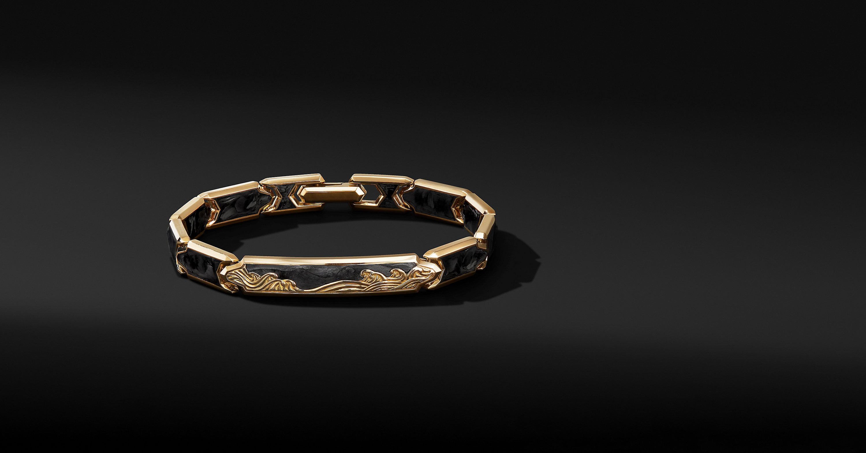Waves ID Link Bracelet in 18K Yellow Gold, 9mm