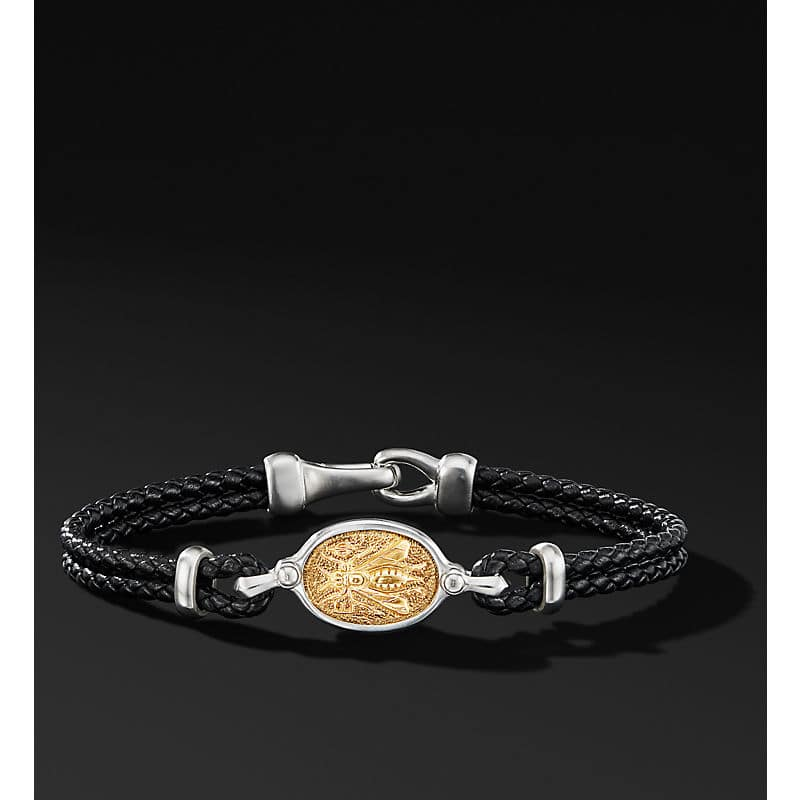 Petrvs Bee Leather Bracelet with 18K Yellow Gold
