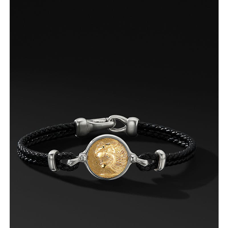 Petrvs Lion Leather Bracelet with 18K Yellow Gold
