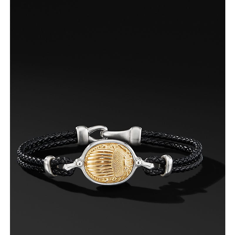 Petrvs Scarab Leather Bracelet with 18K Yellow Gold