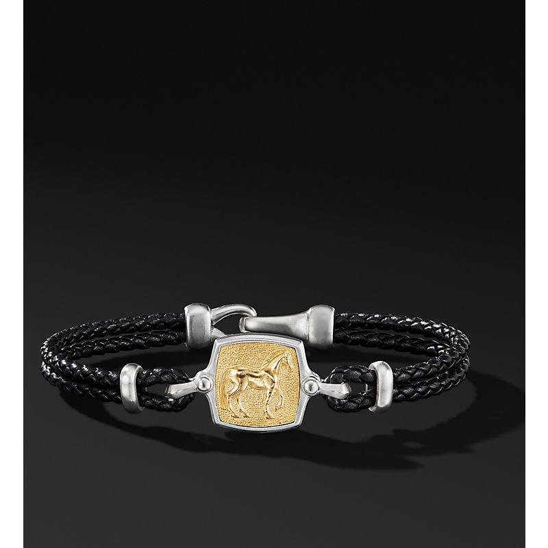 Petrvs Horse Leather Bracelet with 18K Yellow Gold