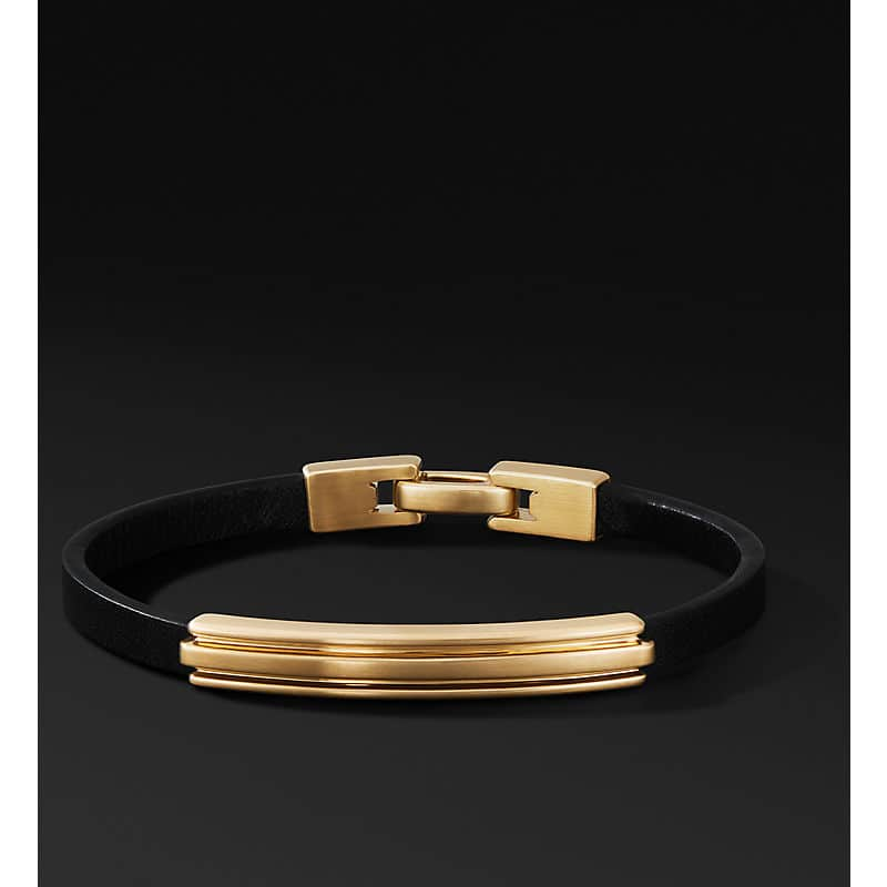 Deco Leather ID Bracelet in 18K Yellow Gold