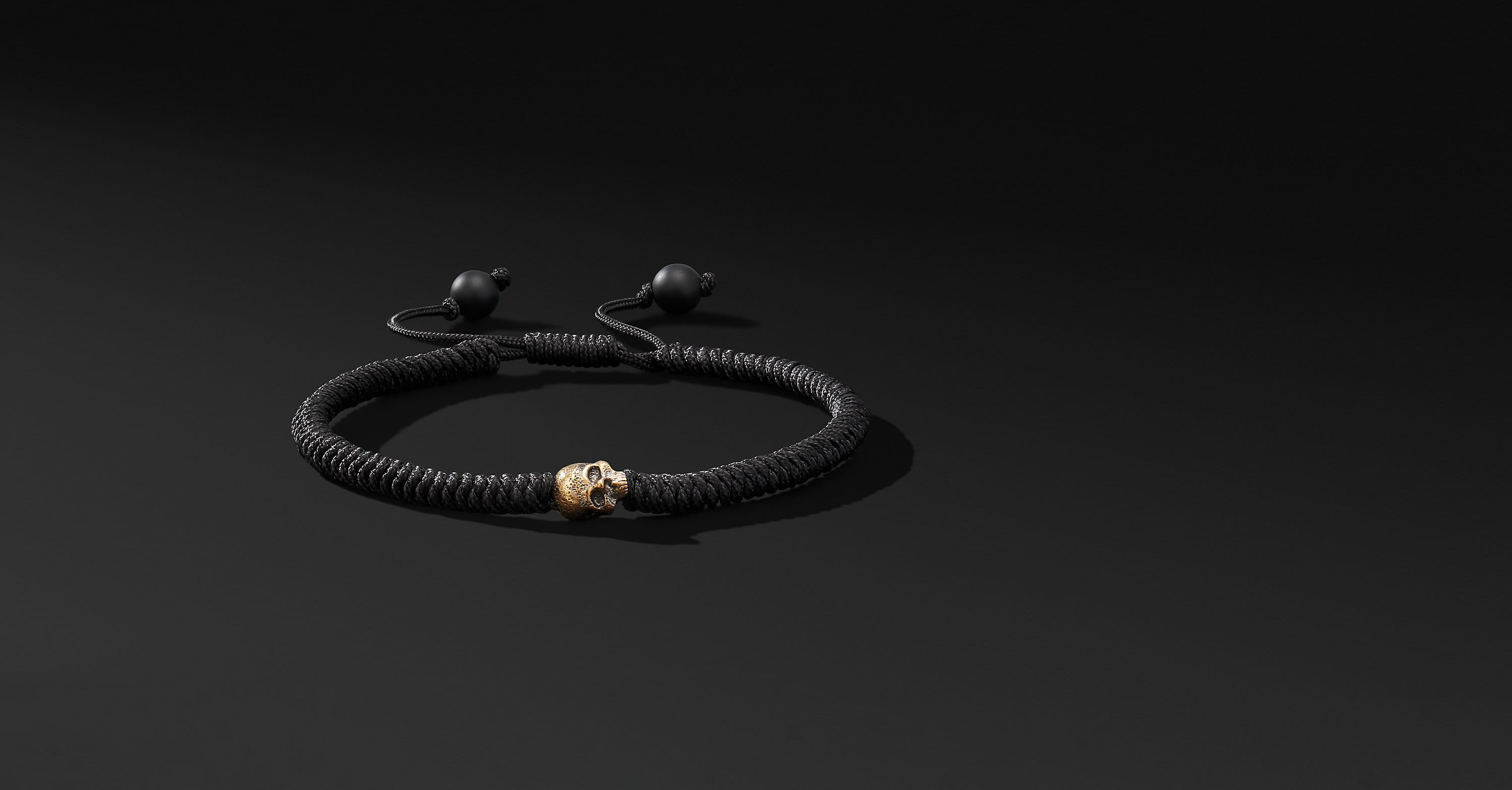 Woven Skull Bead Bracelet with 18K Yellow Gold