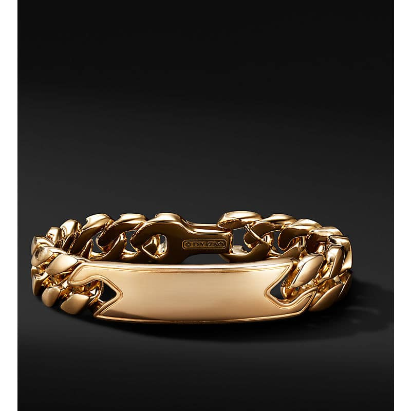 Curb Chain ID Bracelet in 18K Yellow Gold, 14.5mm