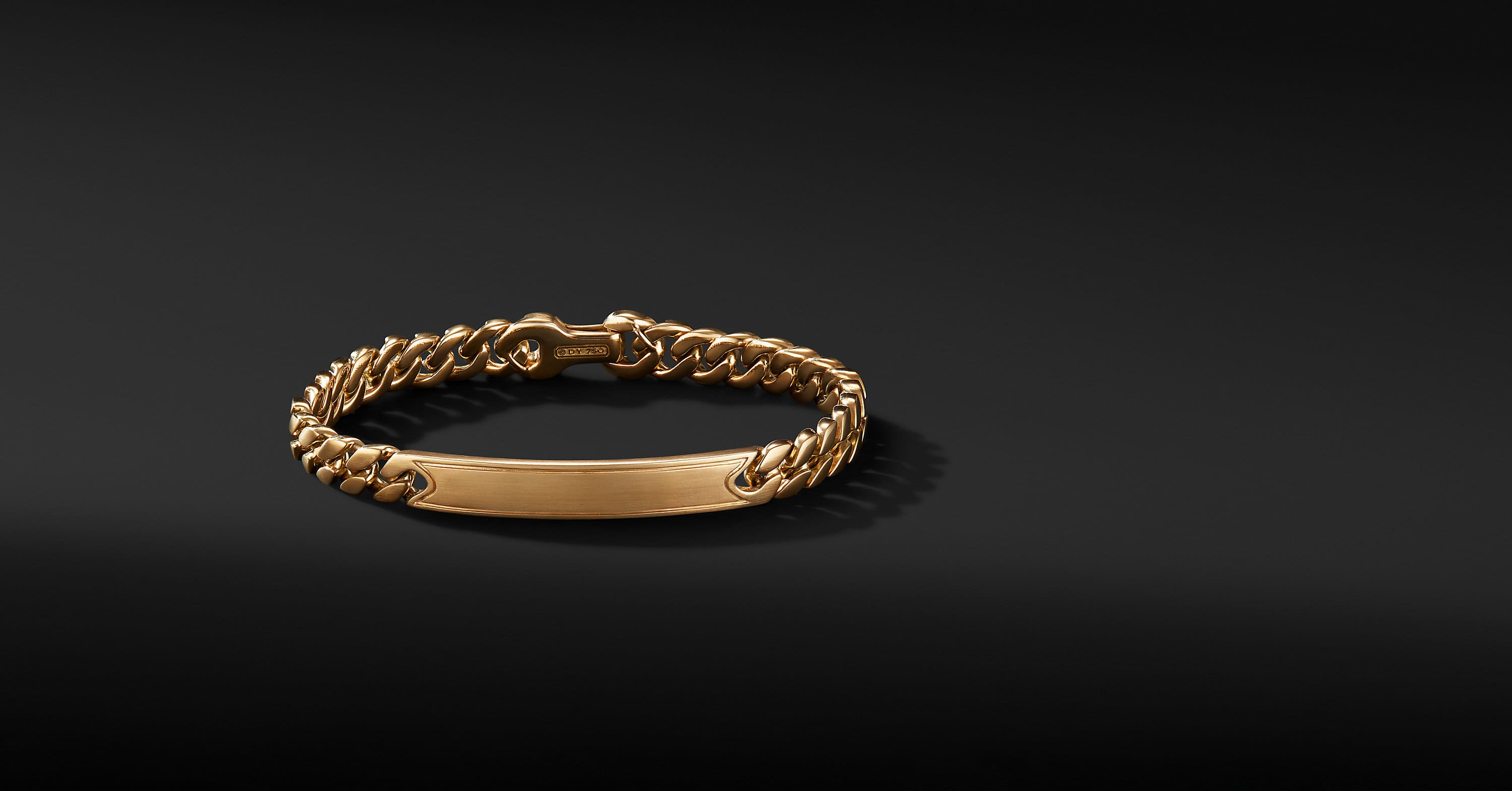 Micro Curb Chain ID Bracelet in 18K Yellow Gold, 8mm