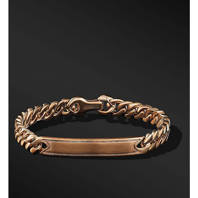 Micro Curb Chain ID Bracelet in 18K Rose Gold, 8mm