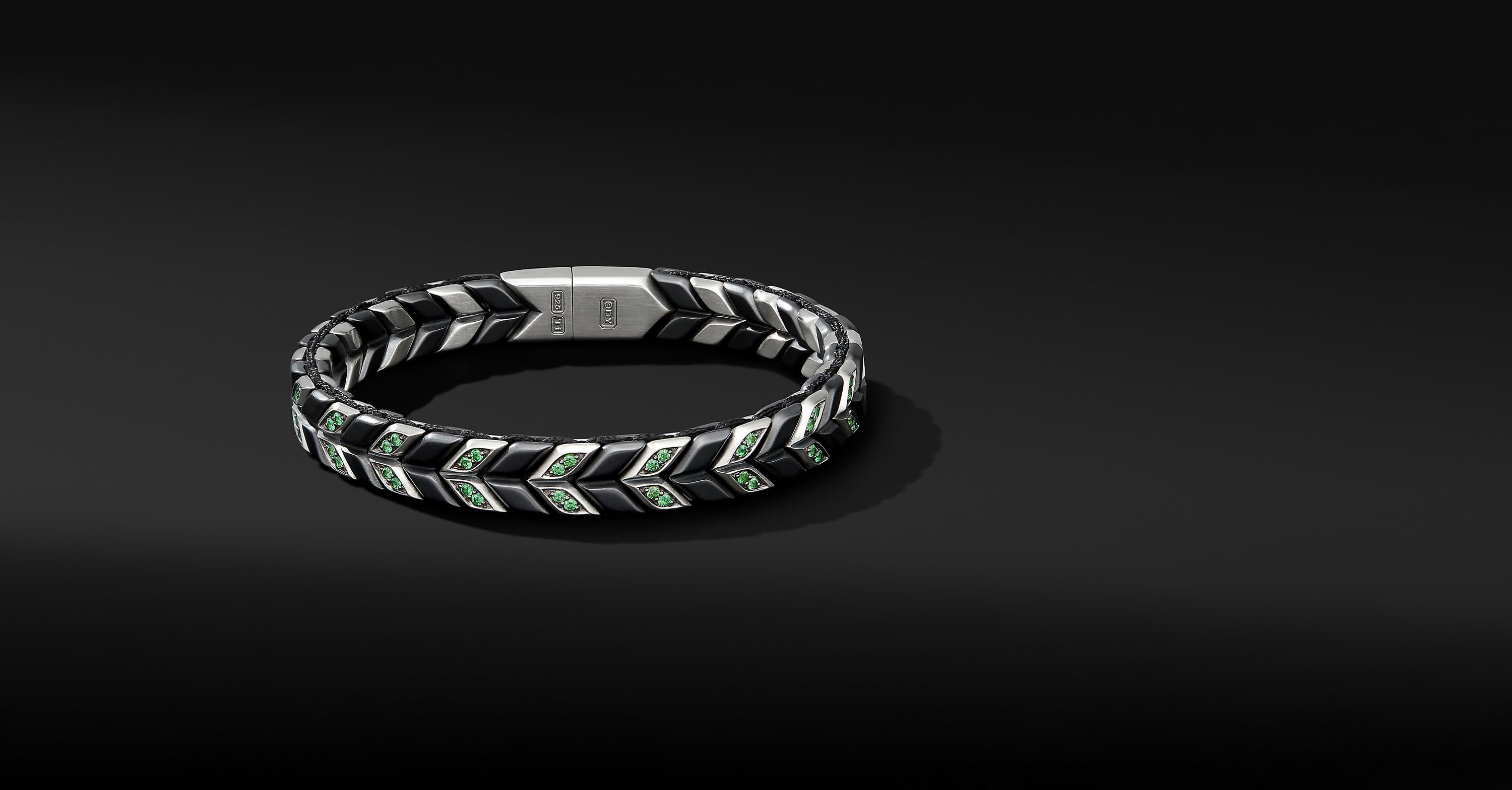 Chevron Narrow Woven Bracelet in Black Titanium