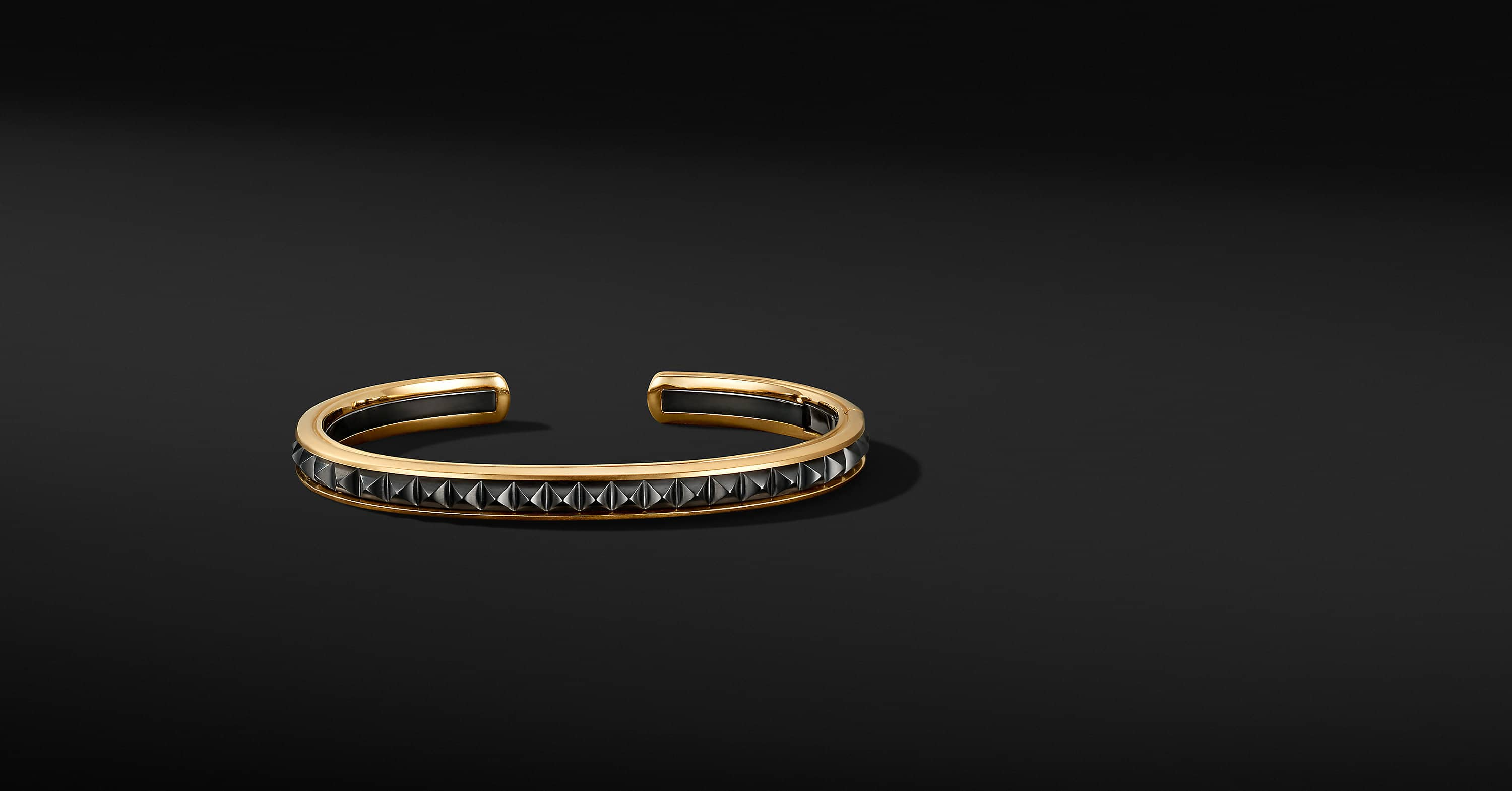 Pyramid Cuff Bracelet in 18K Yellow Gold with Black Titanium, 7mm