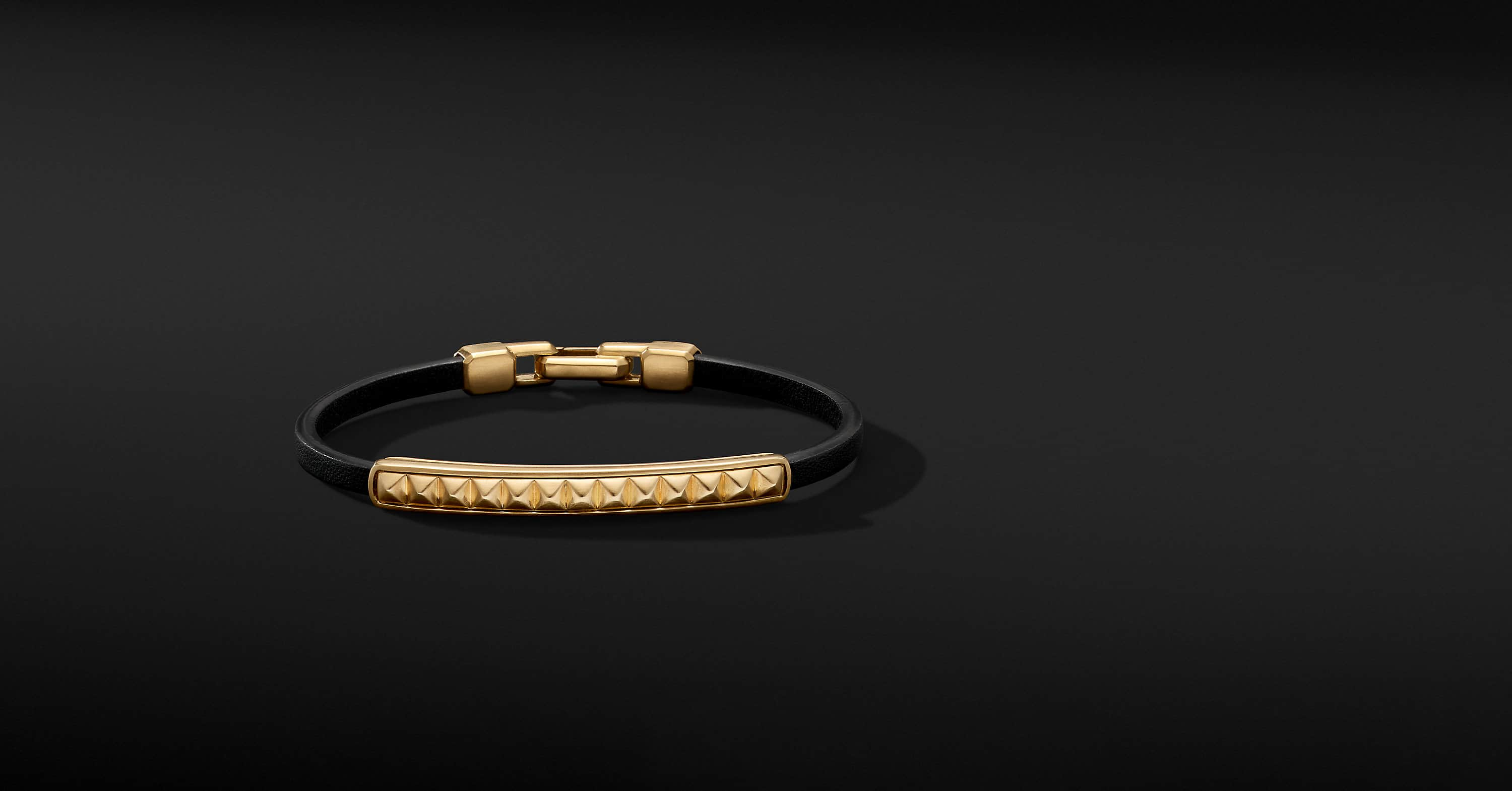 Pyramid Leather ID Bracelet with 18K Yellow Gold