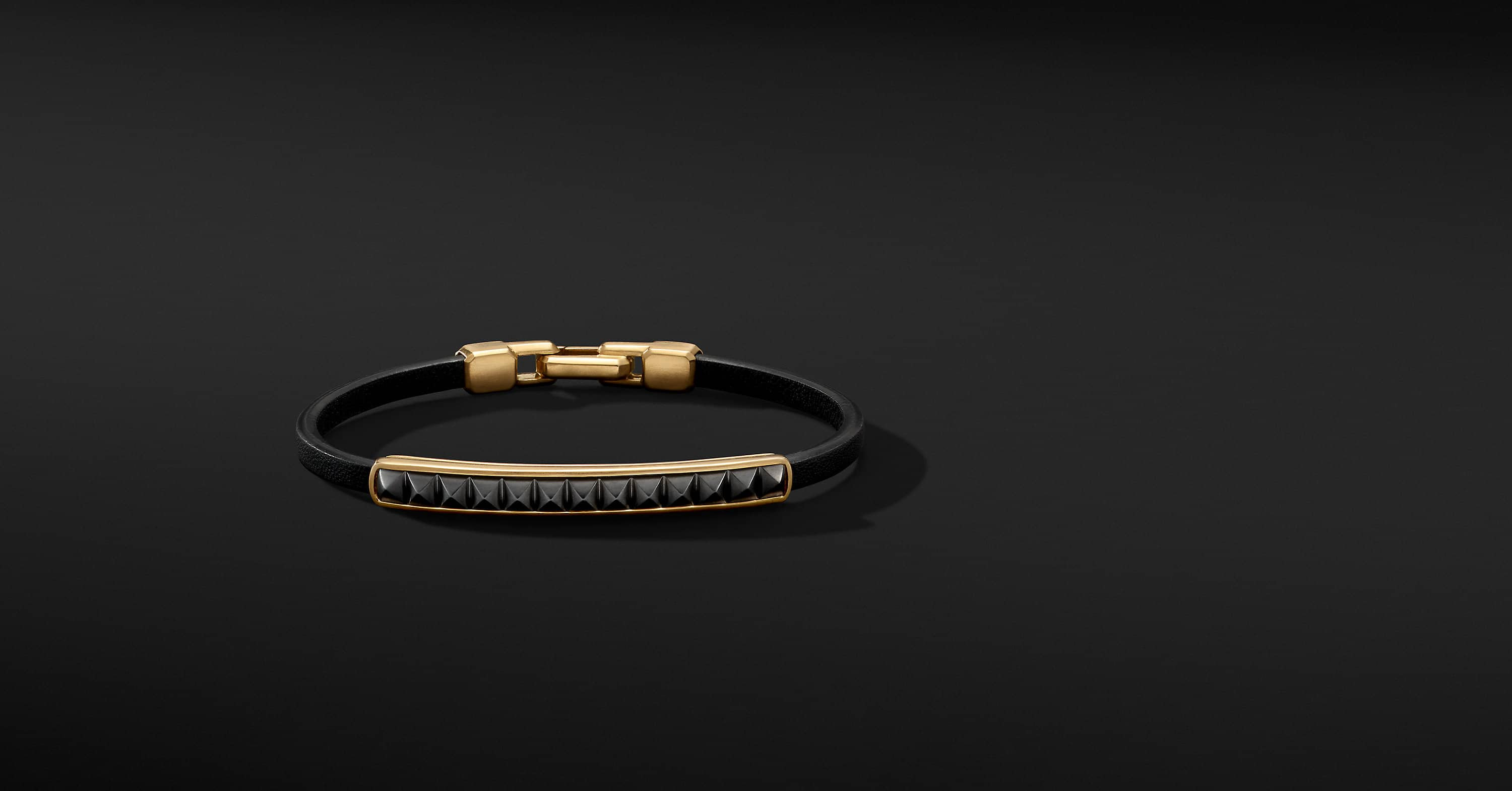 Pyramid Leather ID Bracelet with 18K Yellow Gold and Black Titanium