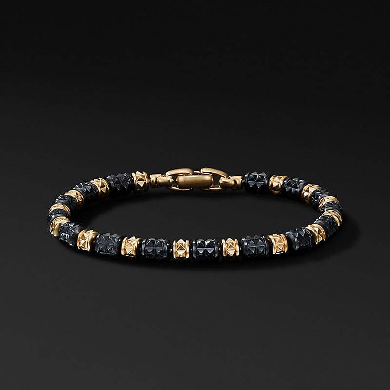 Pyramid Bead Bracelet in 18K Yellow Gold with