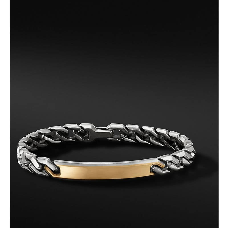 Curb Chain Link ID Bracelet with 18K Yellow Gold, 8.7mm