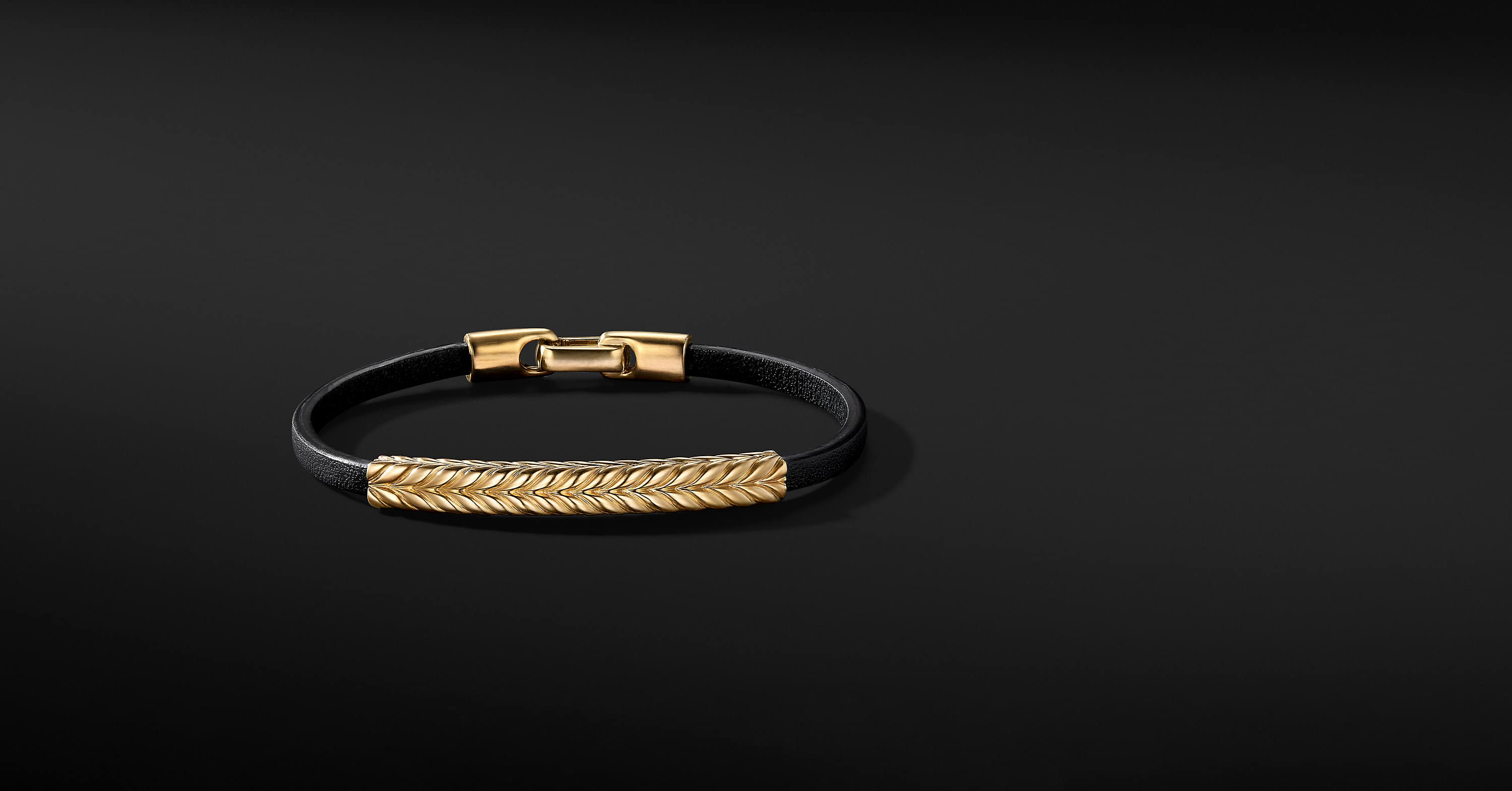 Chevron Leather ID Bracelet with 18K Yellow Gold