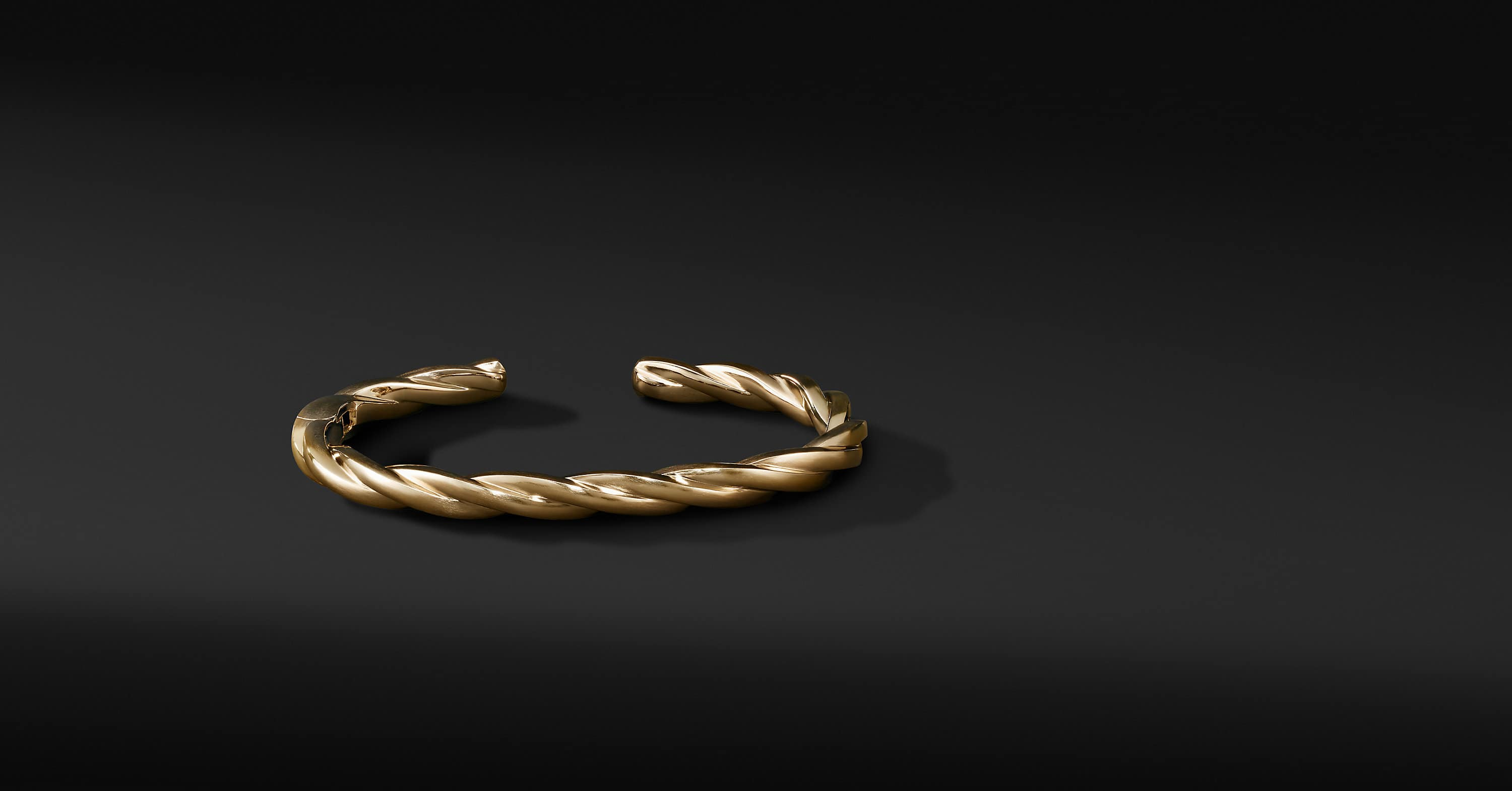 Narrow Twisted Cable Cuff Bracelet in 18K Yellow Gold
