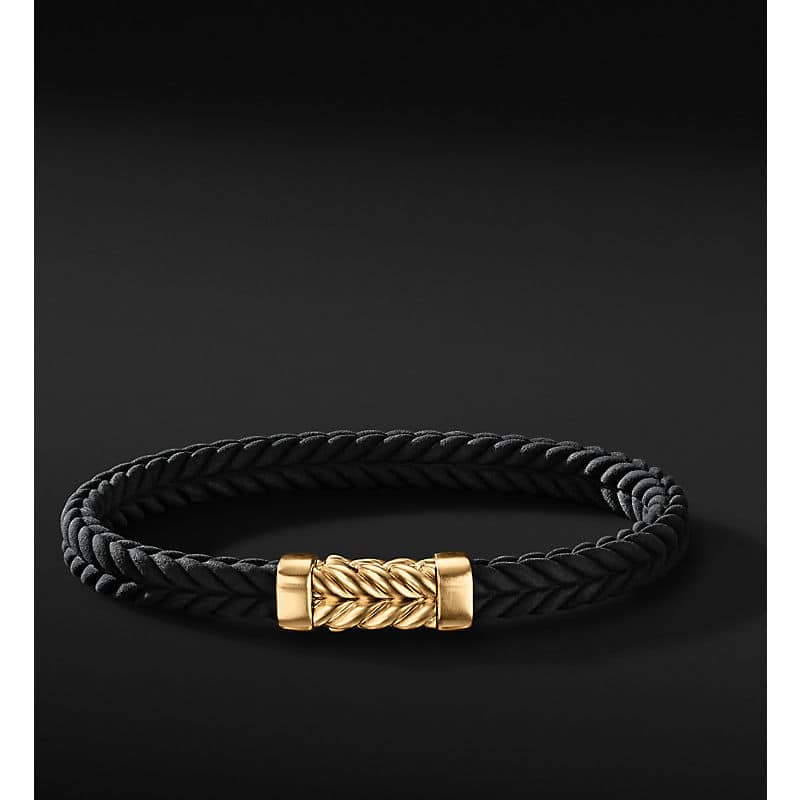 Chevron Rubber Bracelet with 18K Yellow Gold, 6mm