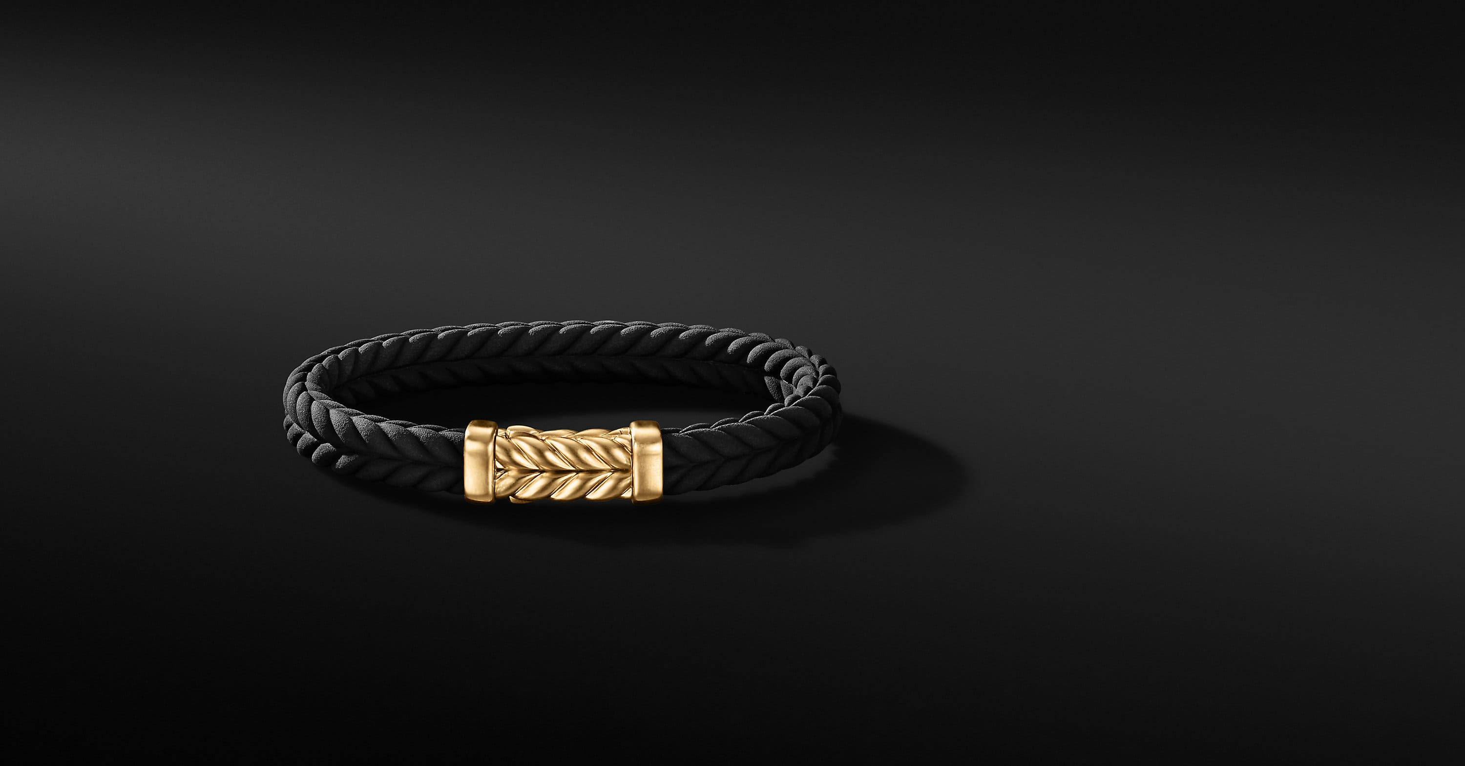 Chevron Rubber Bracelet with 18K Yellow Gold, 9mm