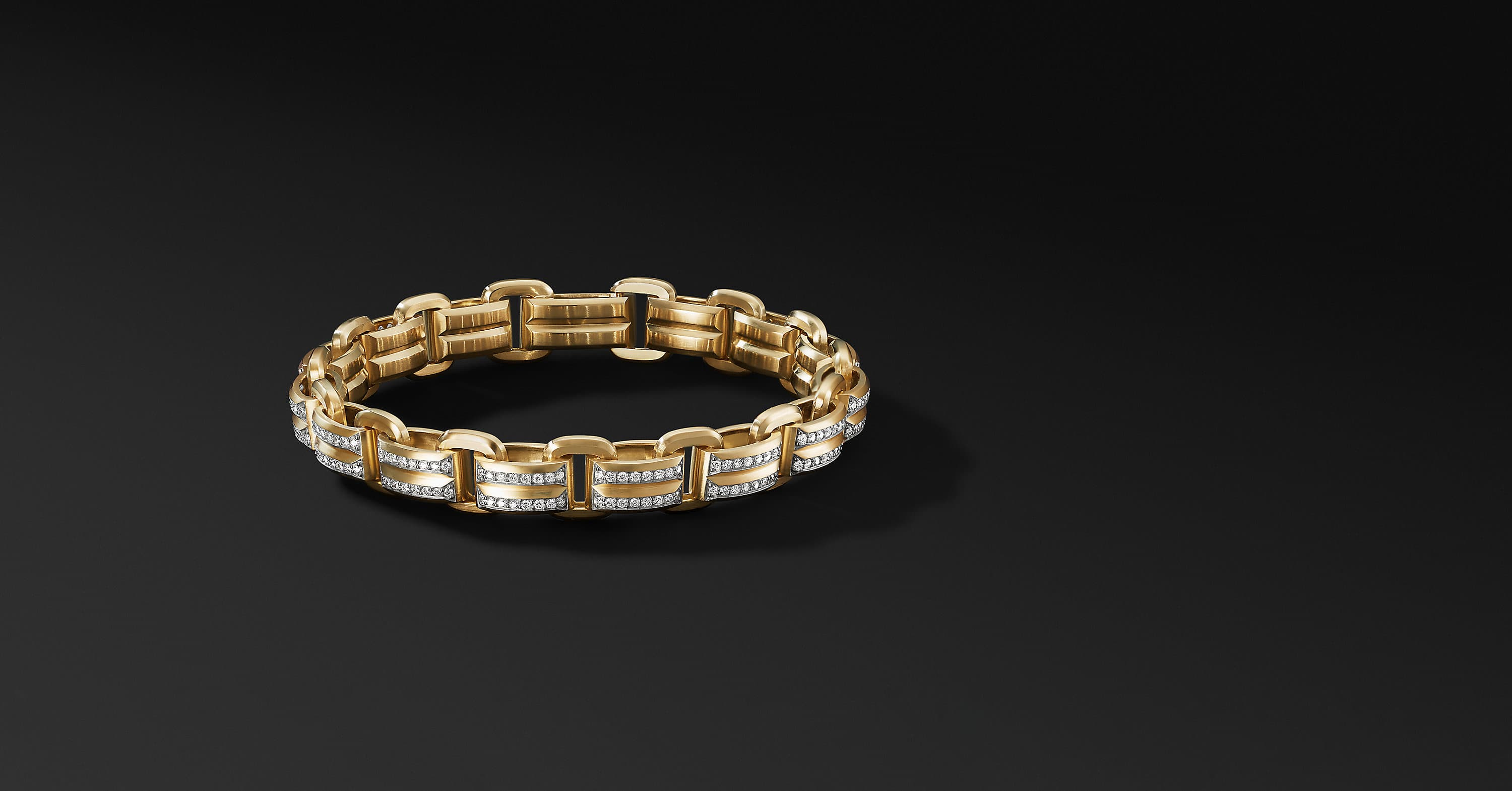 Beveled Link Bracelet in 18K Yellow Gold, 7.5mm