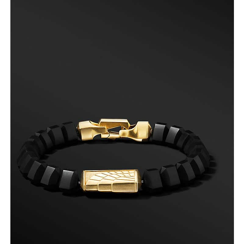 Empire Bead Bracelet with 18K Yellow Gold, 8.8mm