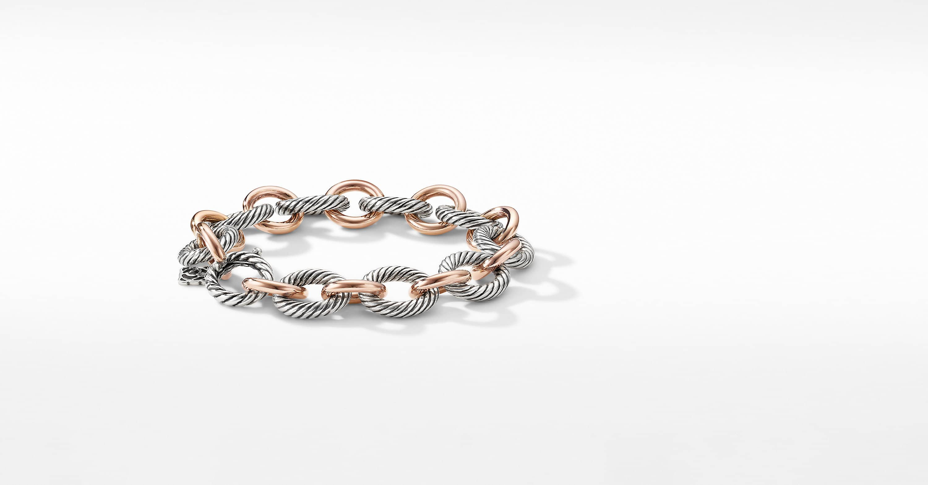 Large Oval Link Bracelet with 18K Rose Gold