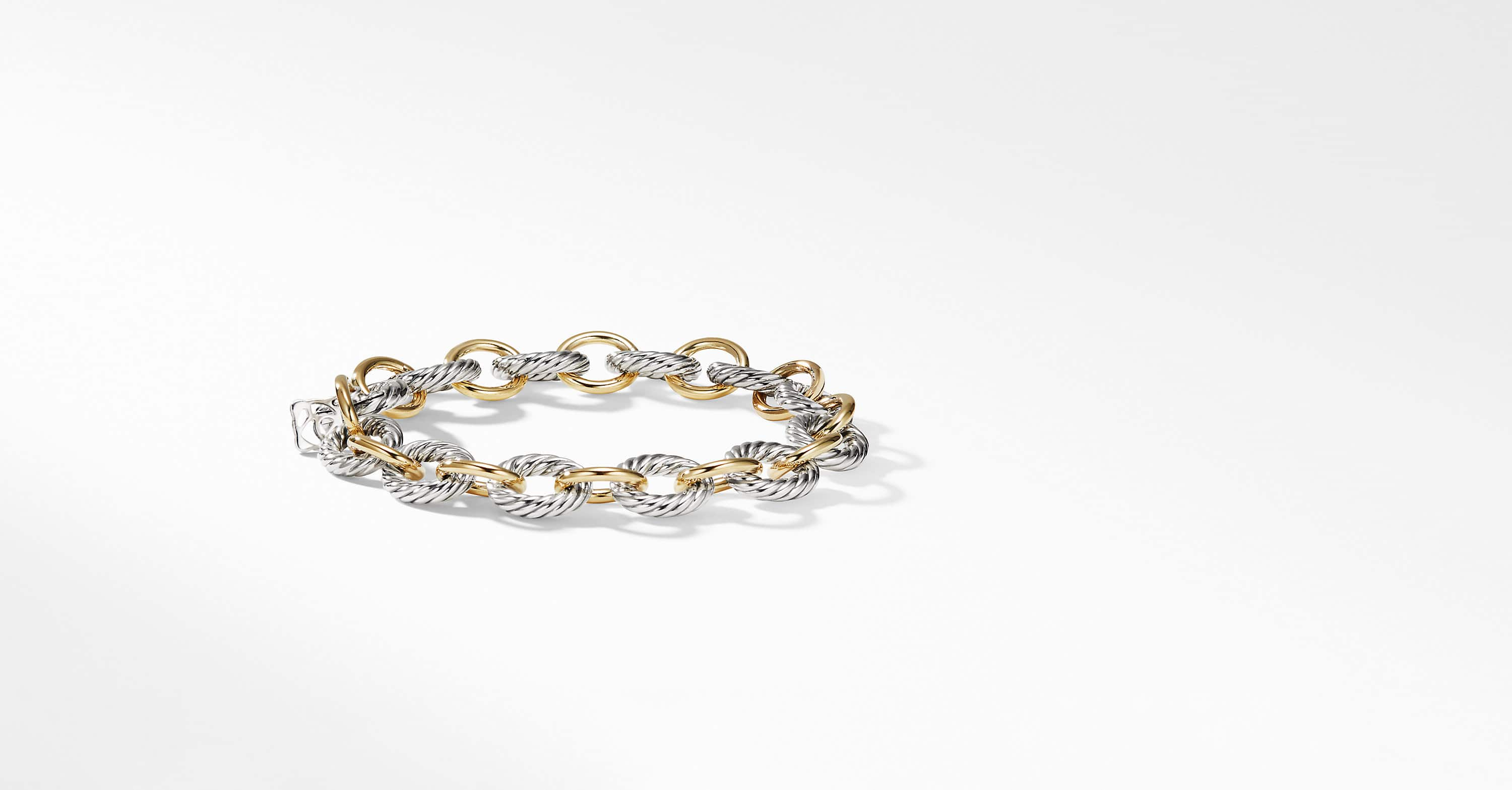 Medium Oval Link Bracelet with 18K Gold