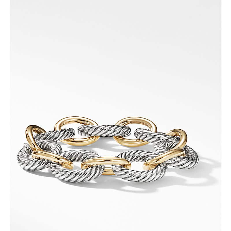 Oval Link Chain Bracelet with 18K Yellow Gold, 17mm