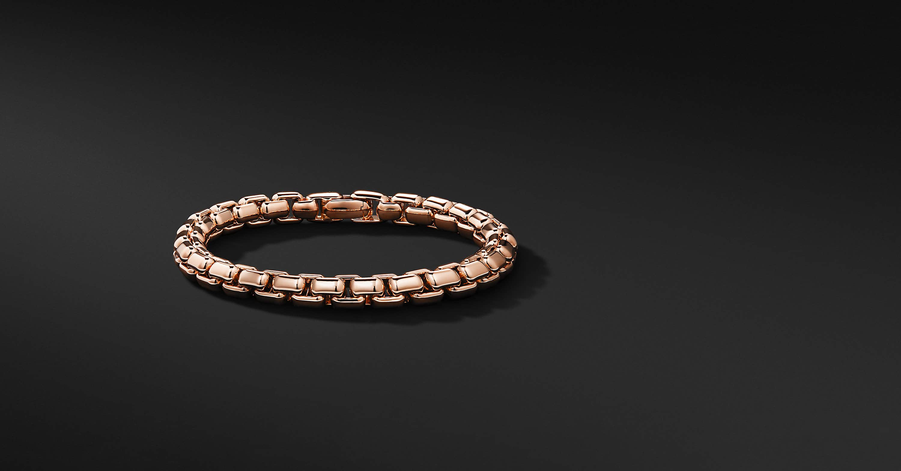 Box Chain Bracelet in 18K Rose Gold, 7.5mm