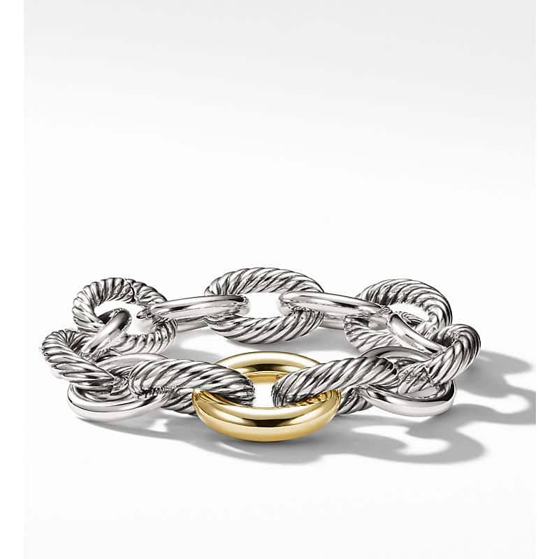 Oval Link Chain Bracelet with 18K Yellow Gold, 19mm