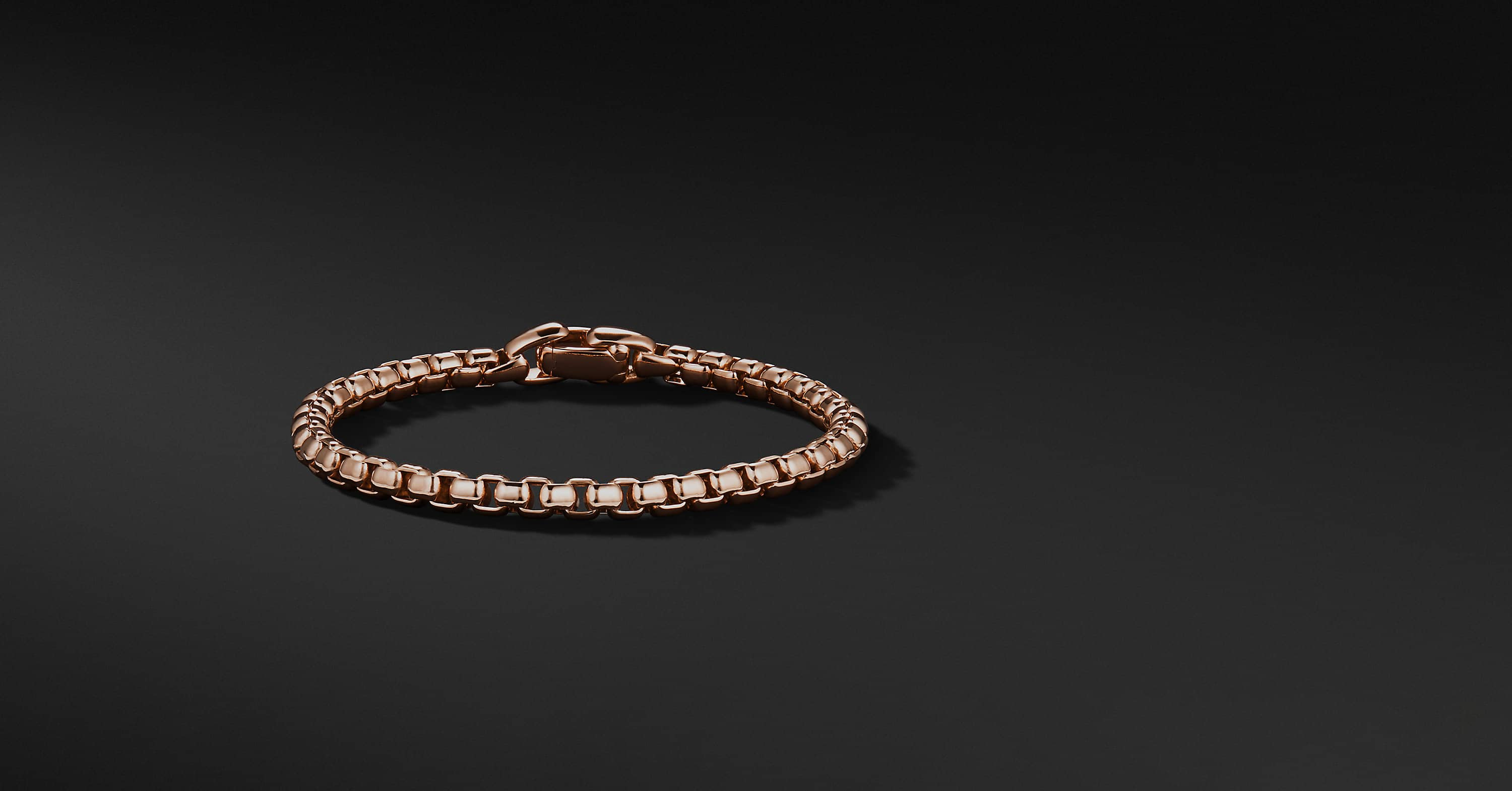 Box Chain Bracelet in 18K Rose Gold, 5mm