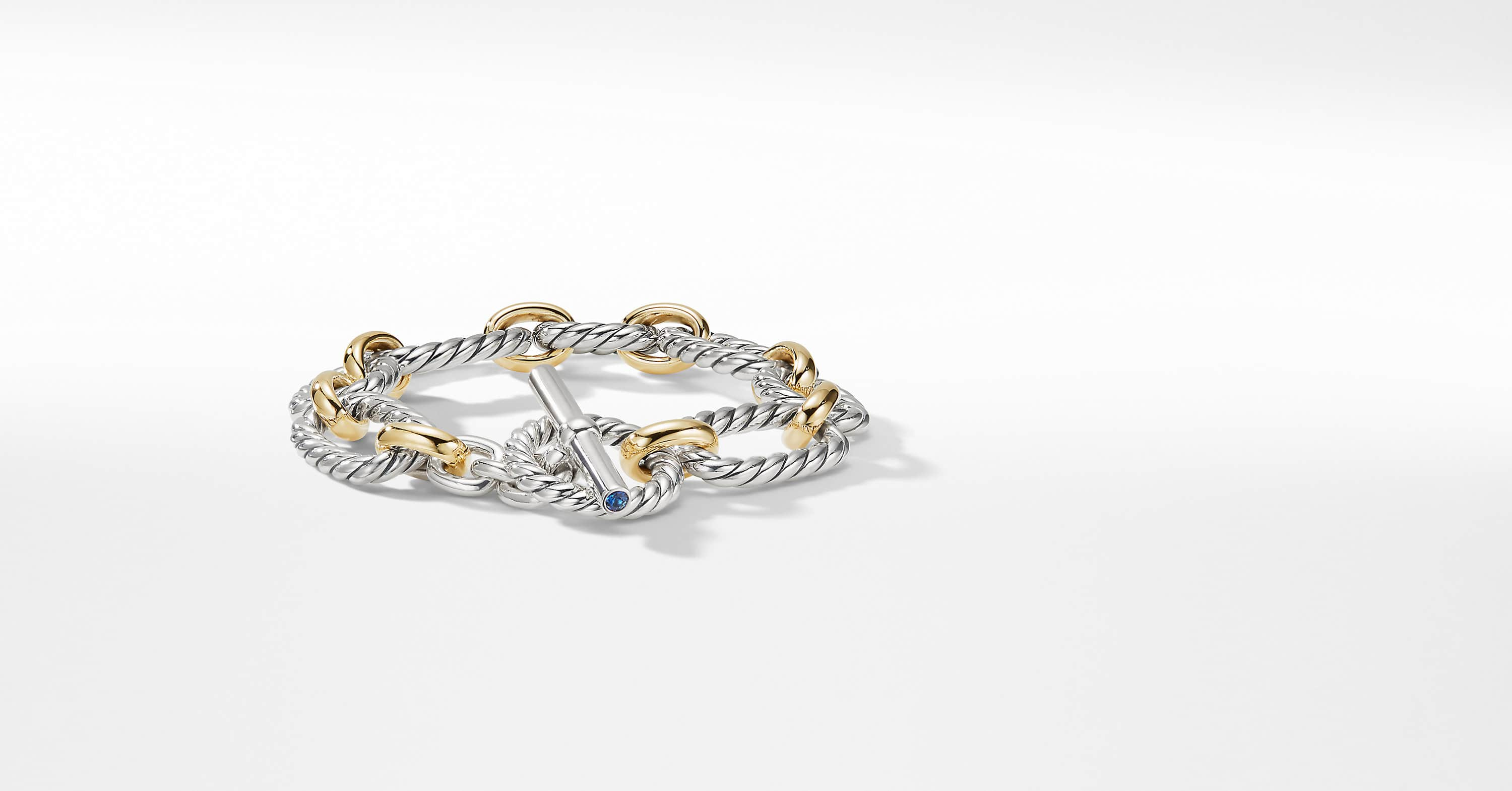 Cushion Link Bracelet with 18K Gold, 12.5mm