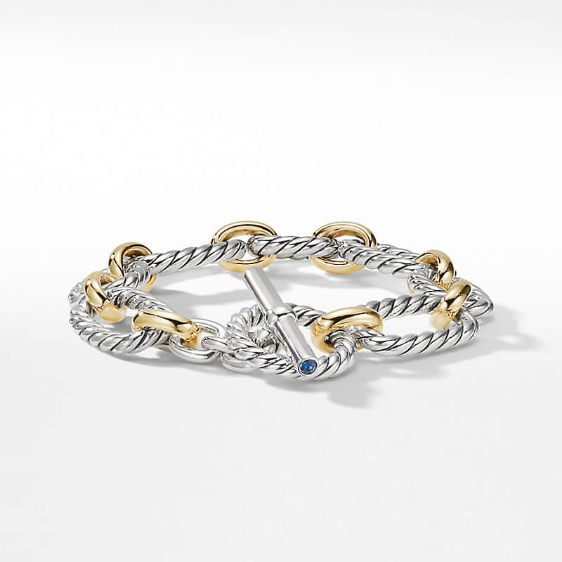 Cushion Link Bracelet with Blue Sapphires and 18K