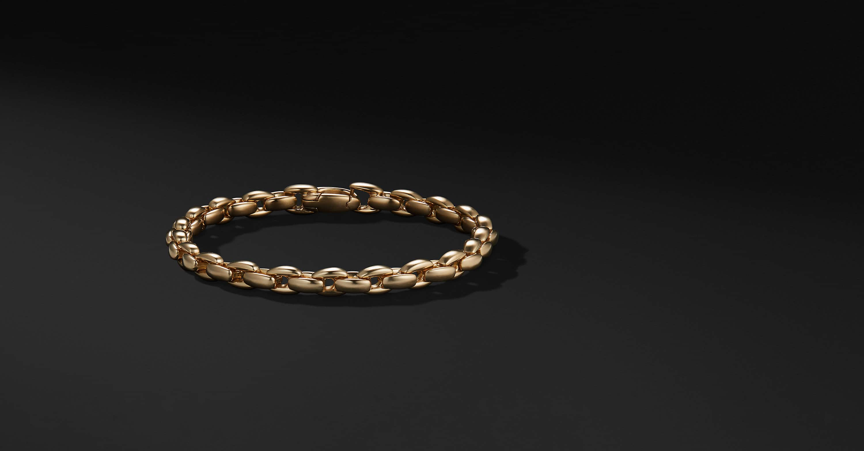 Elongated Box Chain Bracelet in 18K Gold, 6mm