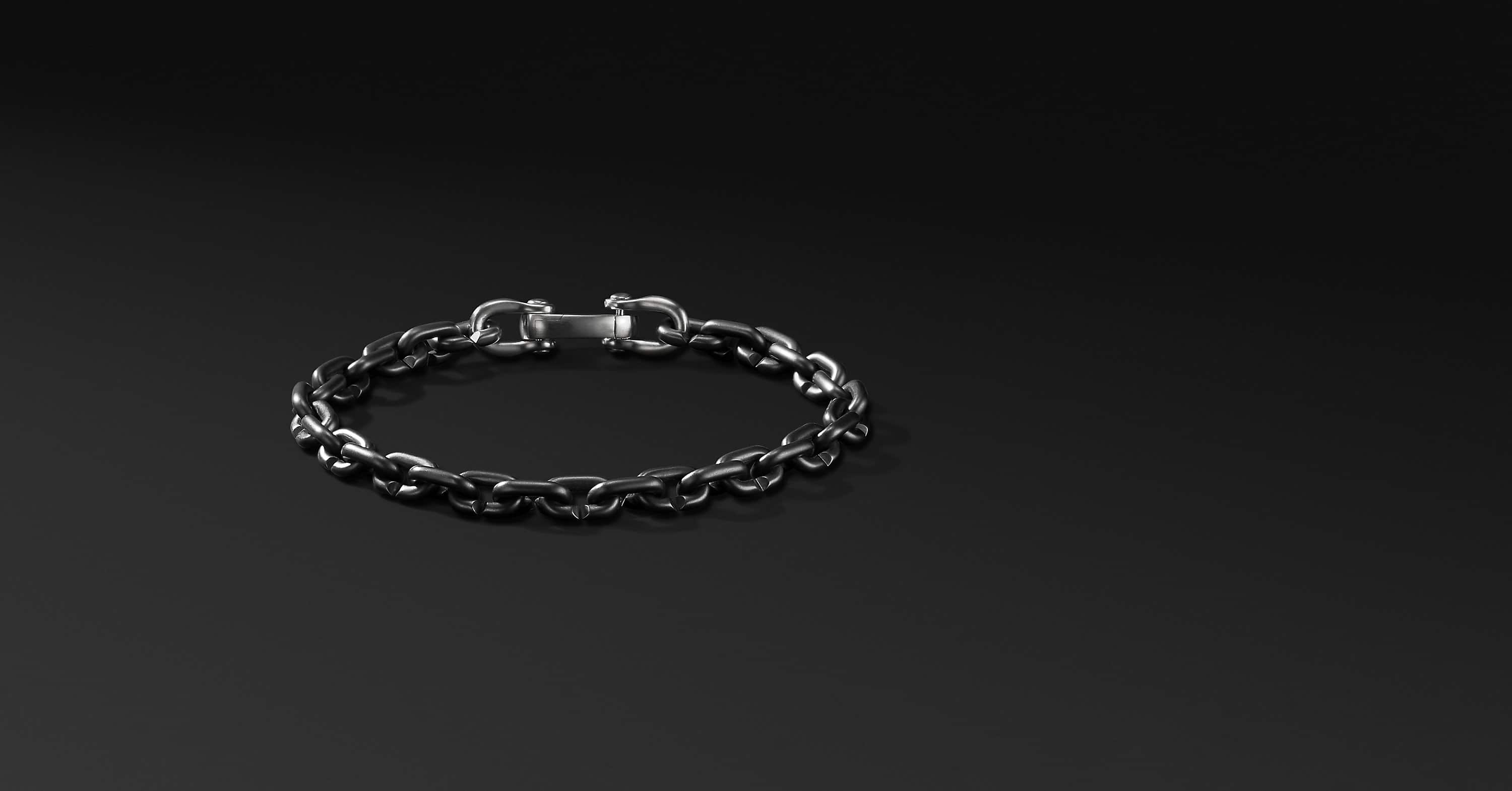 Chain Link Narrow Bracelet with Black Titanium